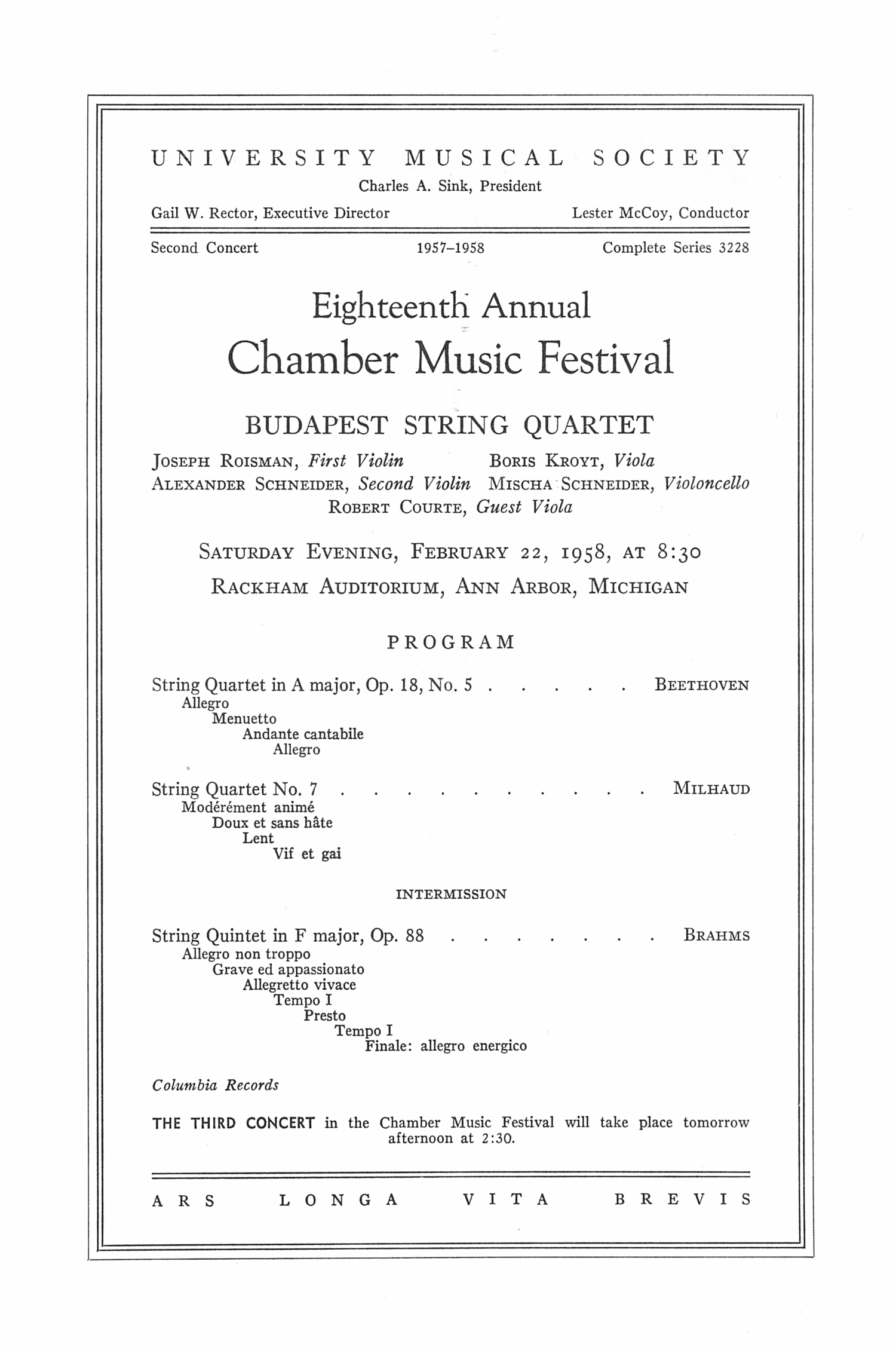 UMS Concert Program, February 22, 1958: Eighteenth Annual Chamber Music Festival -- Budapest String Quartet image