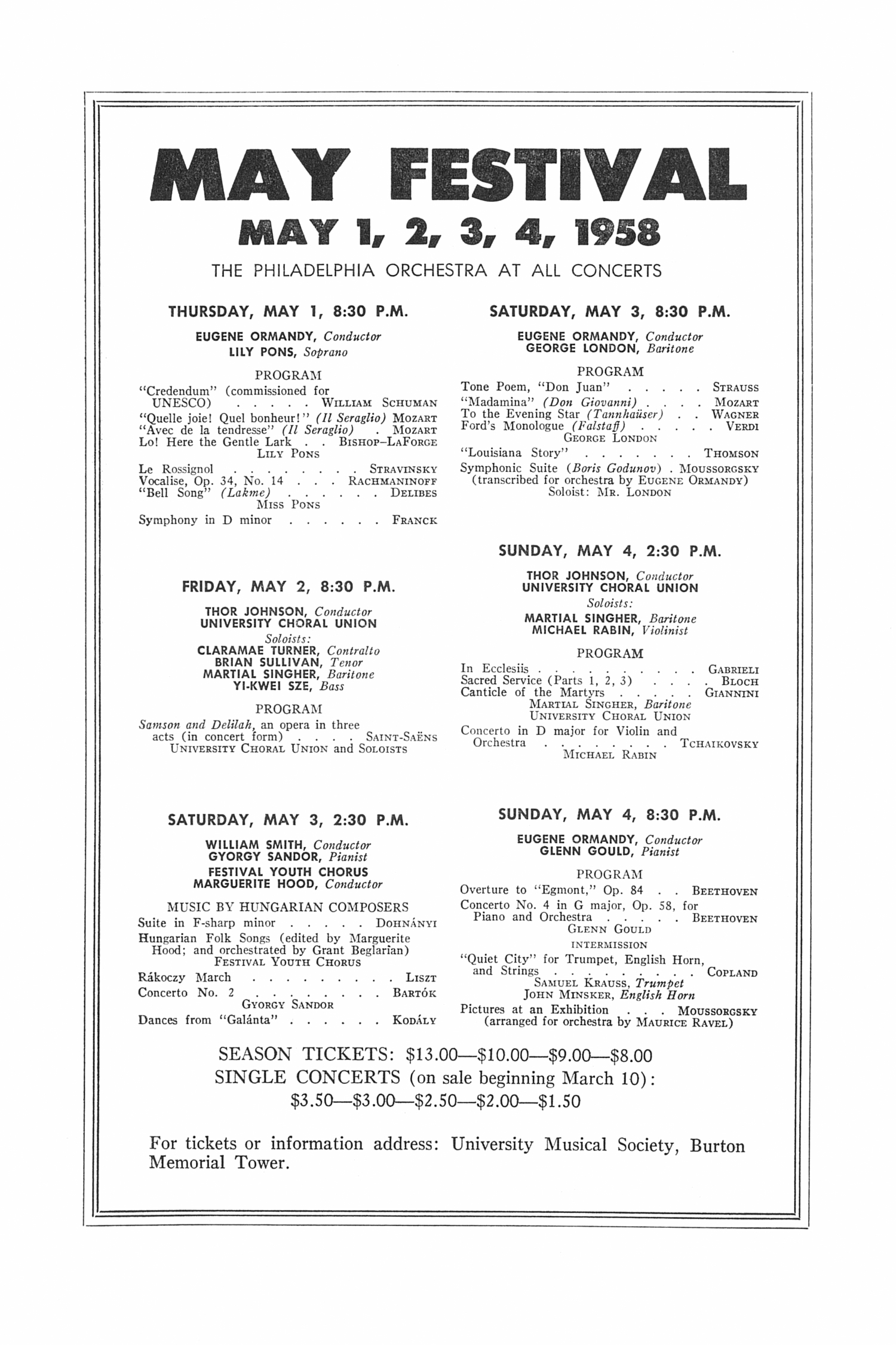 UMS Concert Program, February 25, 1958: Seventy-ninth Annual Choral Union Concert Series -- Obernkirchen Children's Choir image