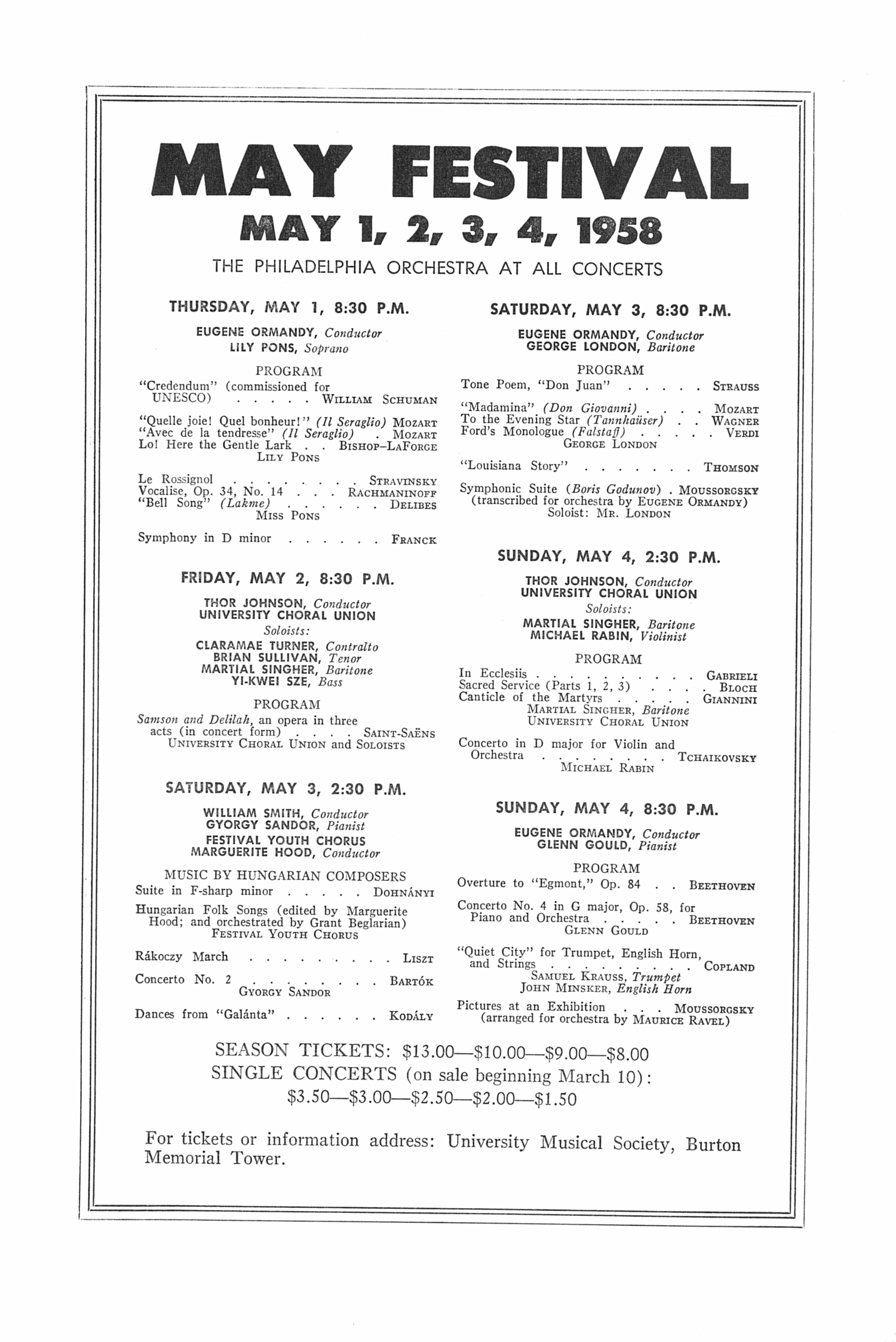 UMS Concert Program, March 2, 1958: Seventy-ninth Annual Choral Union Concert Series -- The Chicago Symphony Orchestra image