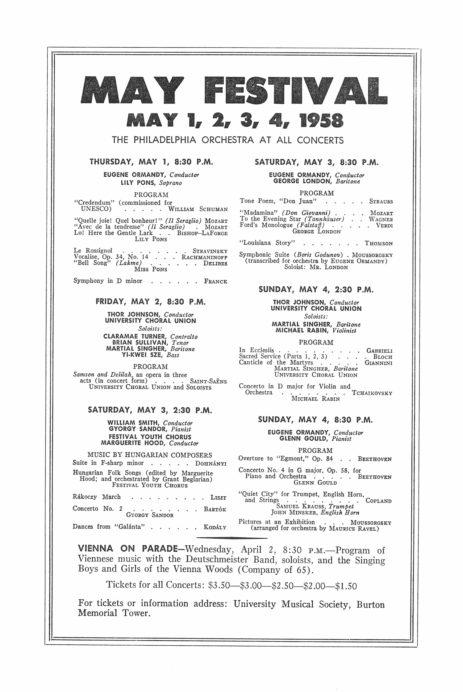UMS Concert Program, March Ii, 1958: Twelfth Annual Extra Concert Series --  image