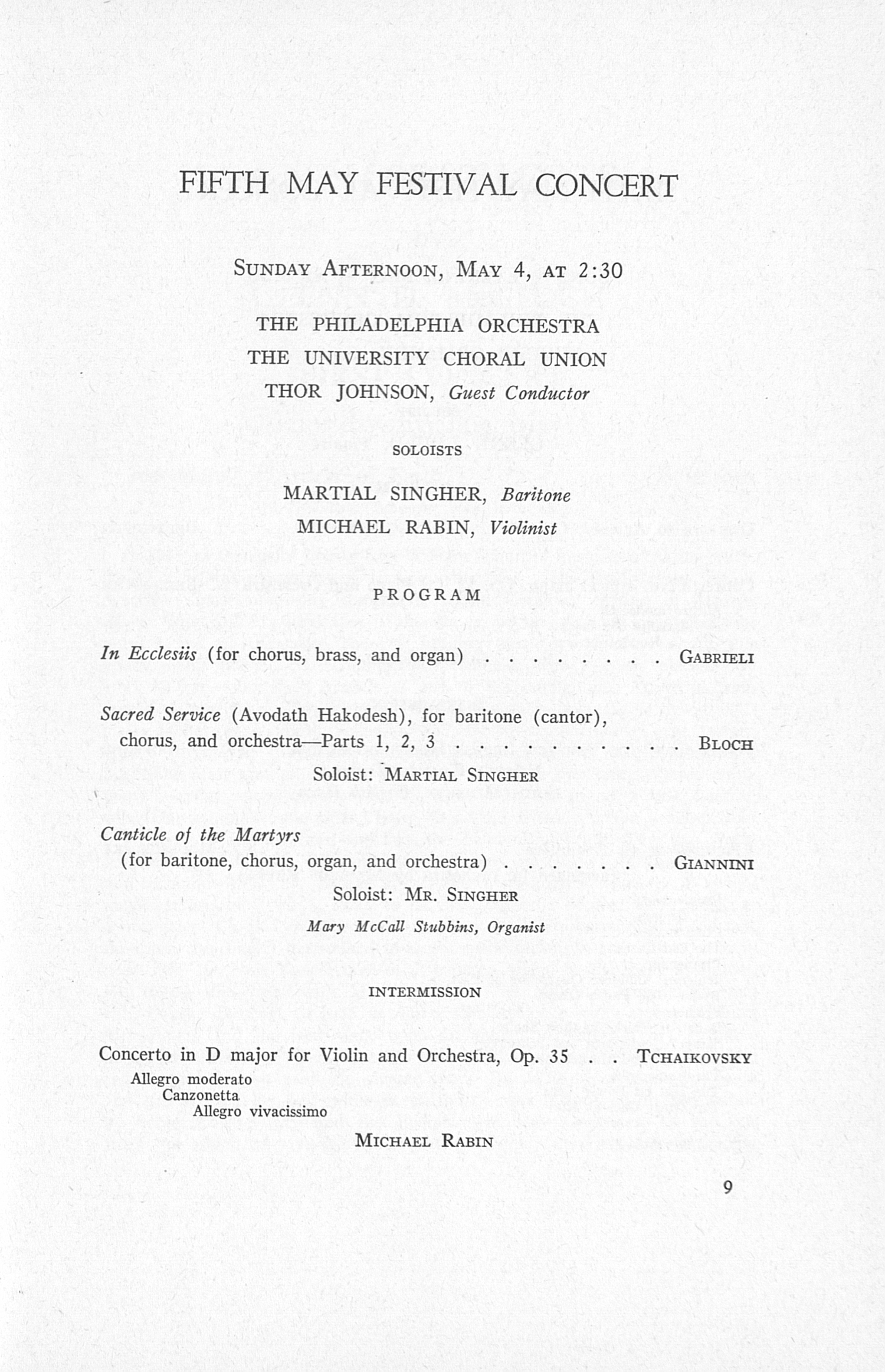 UMS Concert Program, May 1, 2, 3, 4, 1958: The Sixty-fifth Annual Ann Arbor May Festival -- The Philadelphia Orchestra image
