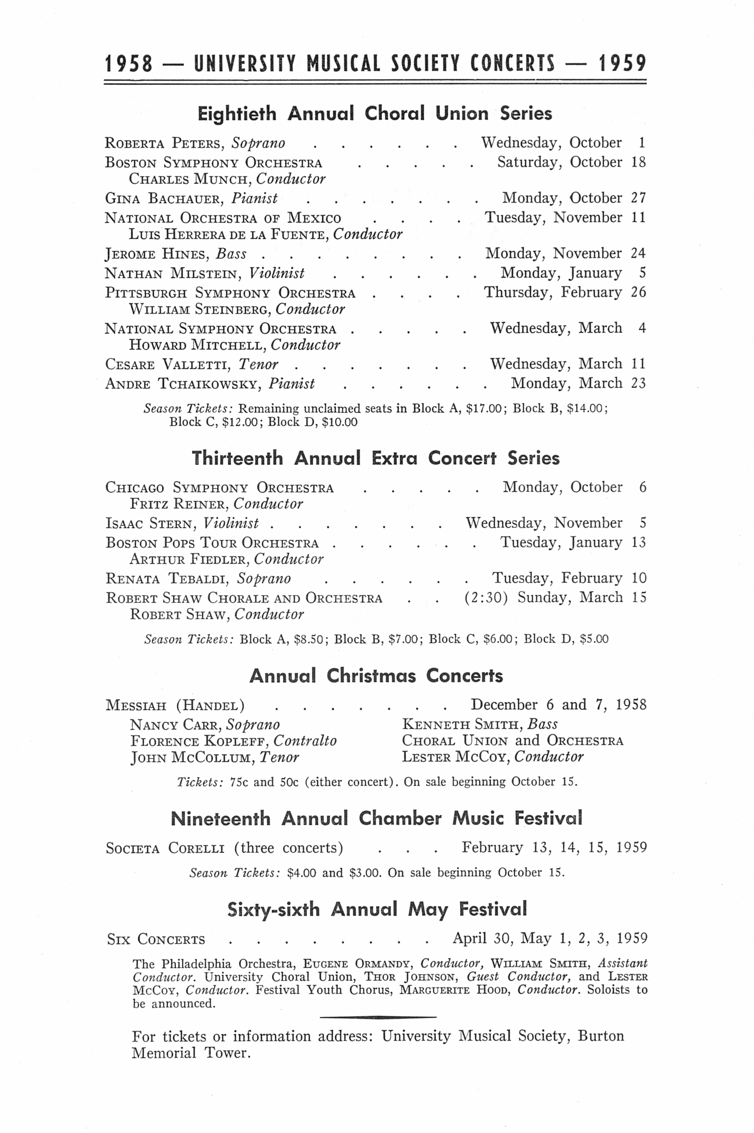 UMS Concert Program, May 1, 1958: Sixty-fifth Annual May Festival -- The Philadelphia Orchestra image