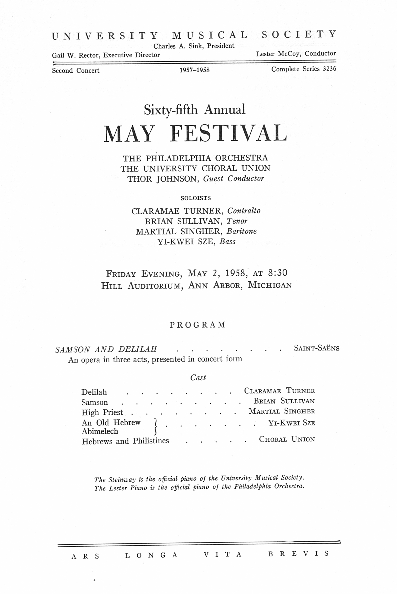 UMS Concert Program, May 2, 1958: Sixty-fifth Annual May Festival -- The Philadelphia Orchestra image