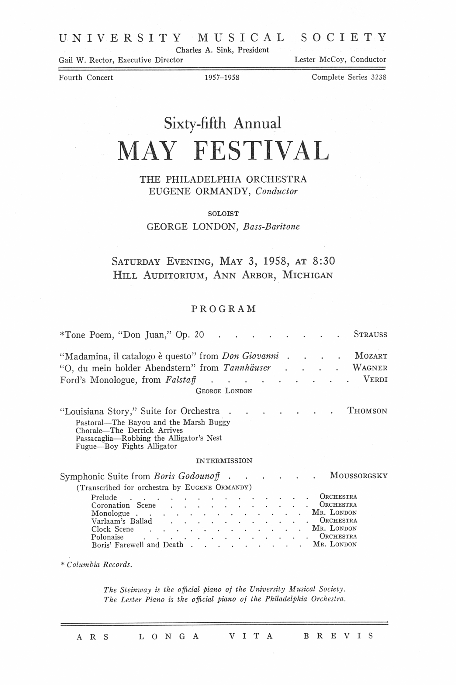 UMS Concert Program, May 3, 1958: Sixty-fifth Annual May Festival -- The Philadelphia Orchestra image