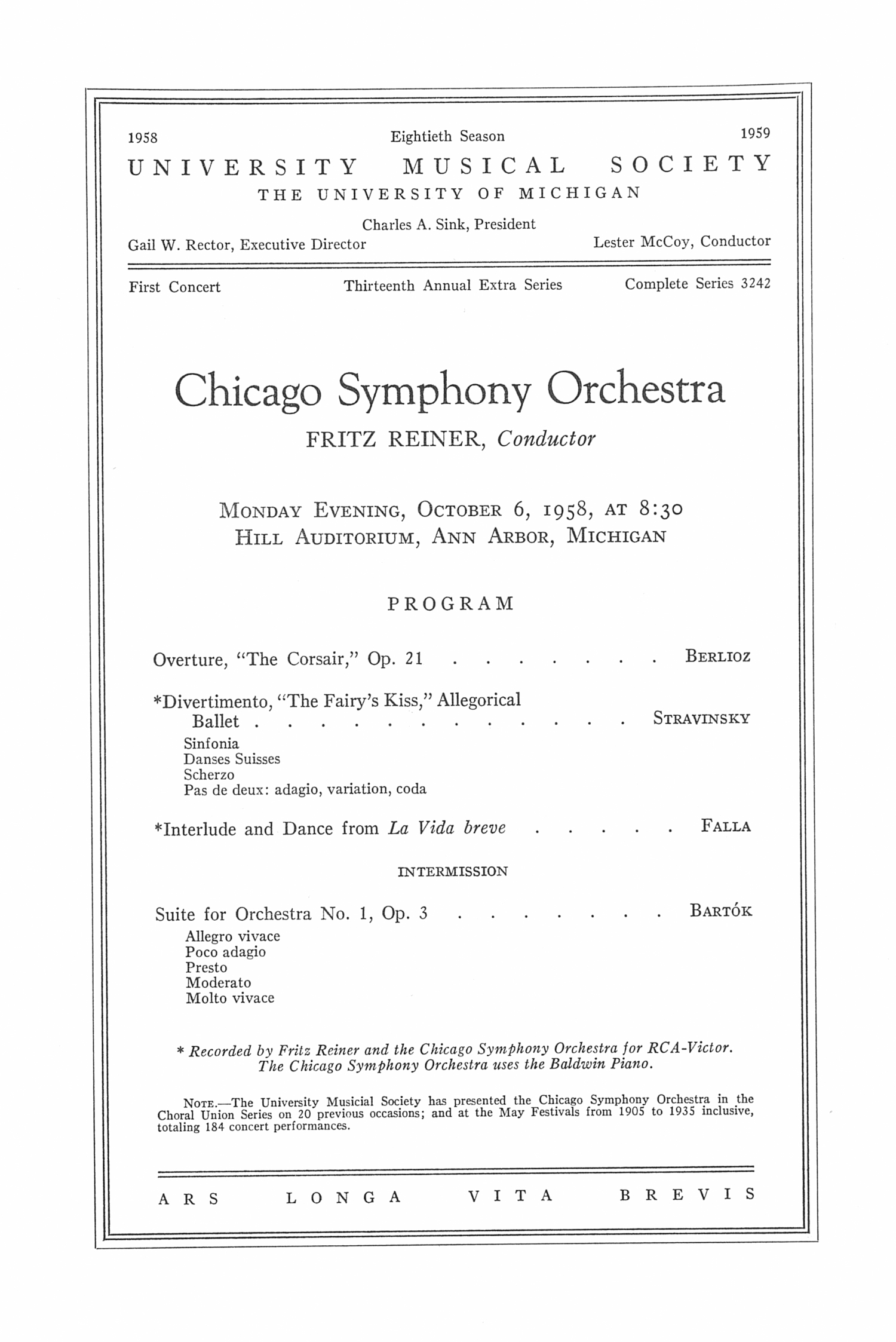 UMS Concert Program, October 6, 1958: Chicago Symphony Orchestra --  image
