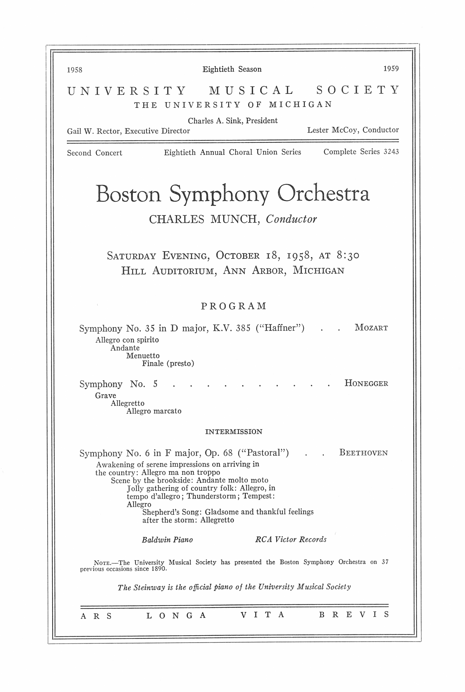 UMS Concert Program, October 18, 1958: Boston Symphony Orchestra --  image