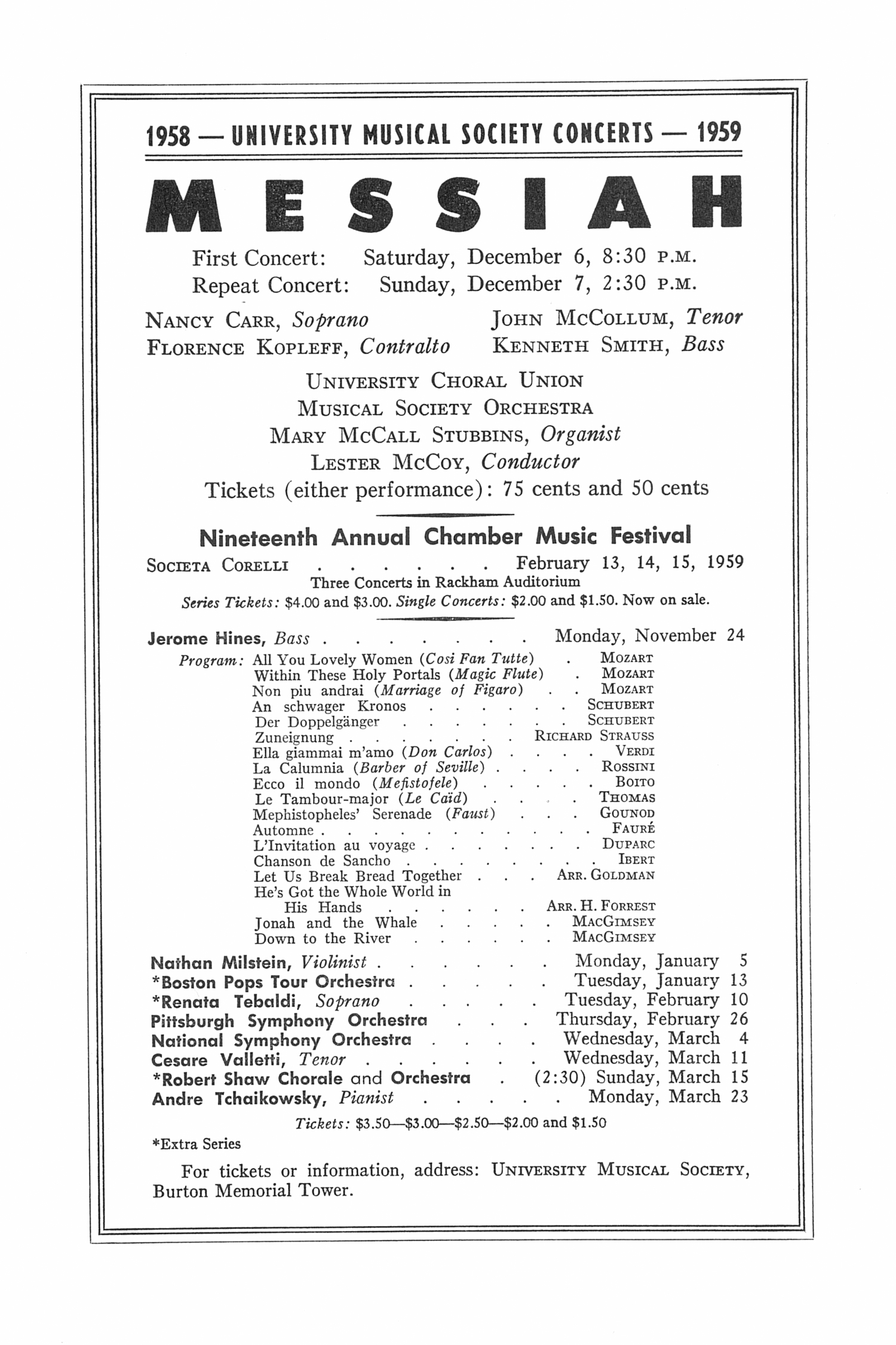 UMS Concert Program, November 11, 1958: The National Symphony Orchestra Of Mexico --  image