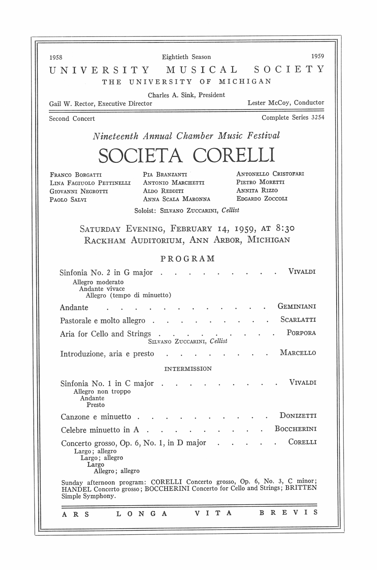 UMS Concert Program, February 14, I959: Societa Corelli --  image