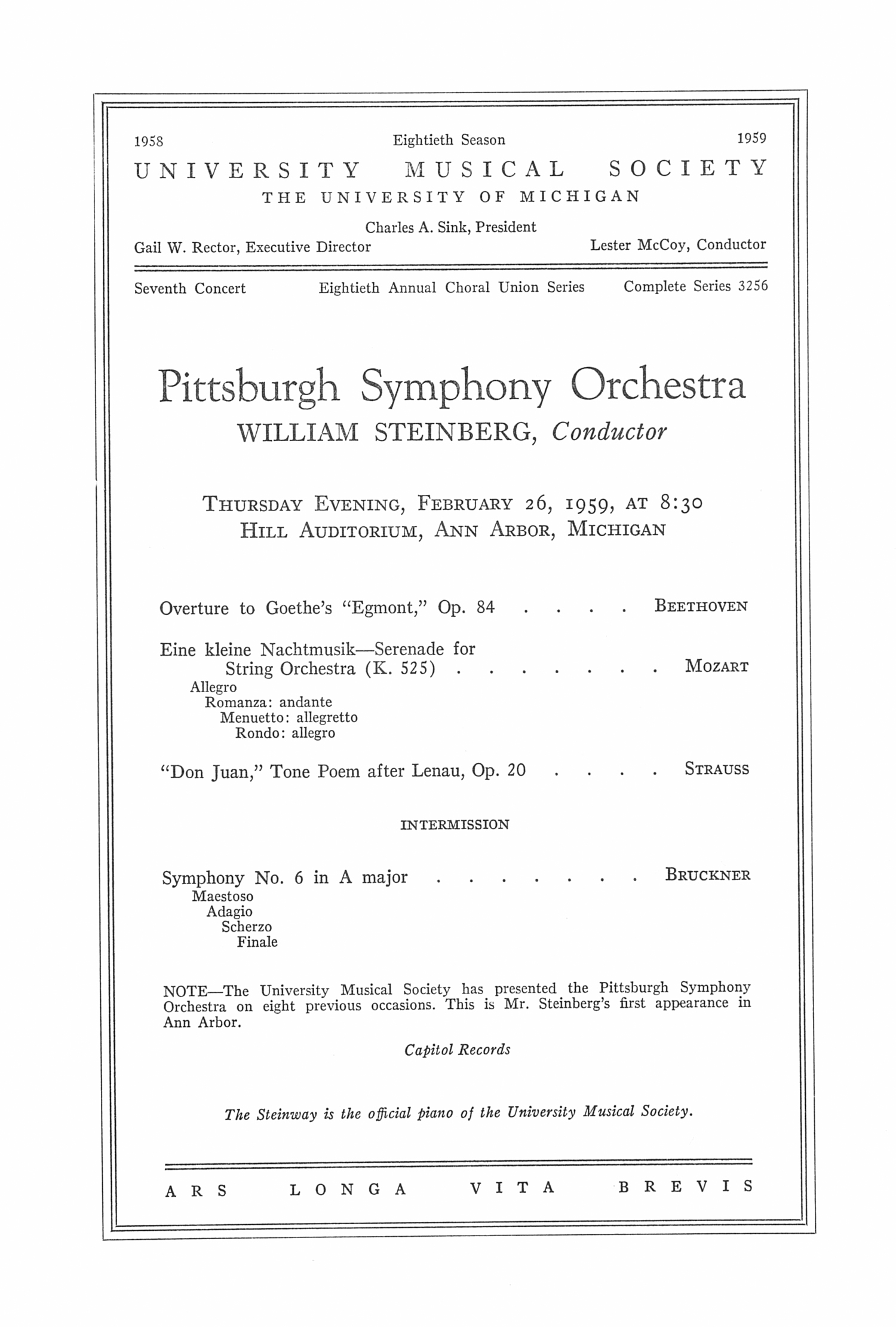 UMS Concert Program, February 26, 1959: Pittsburgh Symphony Orchestra --  image