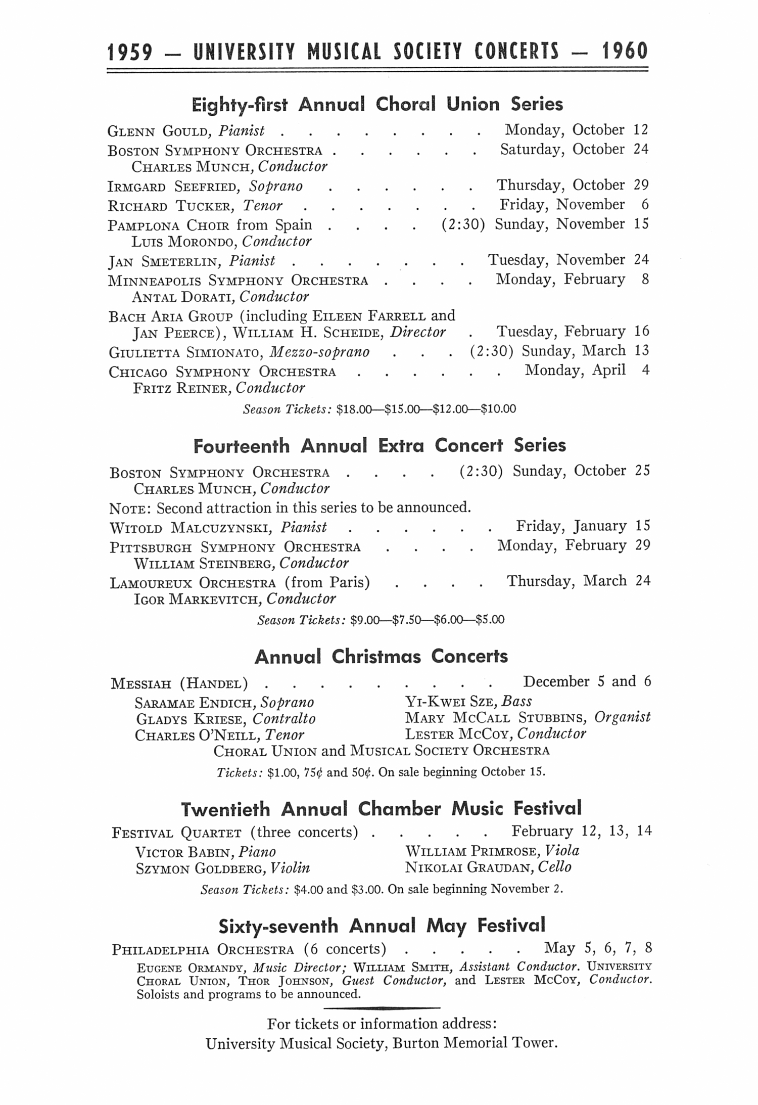 UMS Concert Program, May 1, 1959: Sixty-sixth Annual May Festival -- The Philadelphia Orchestra image