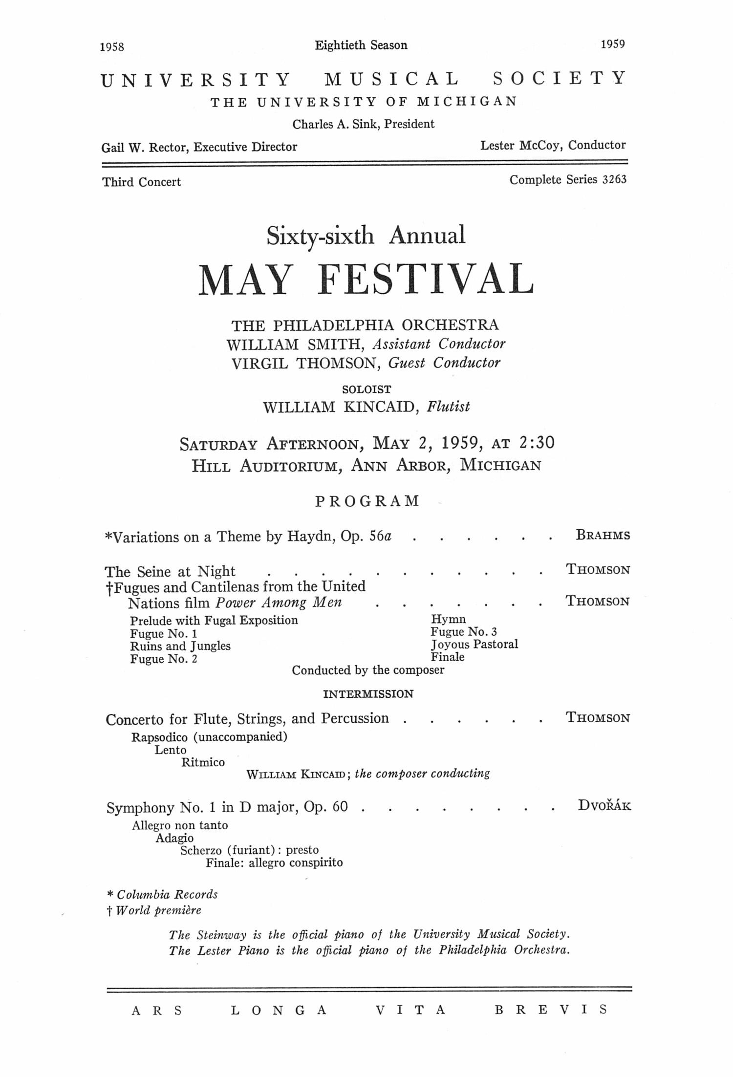 UMS Concert Program, May 2, 1959: Sixty-sixth Annual May Festival -- The Philadelphia Orchestra image