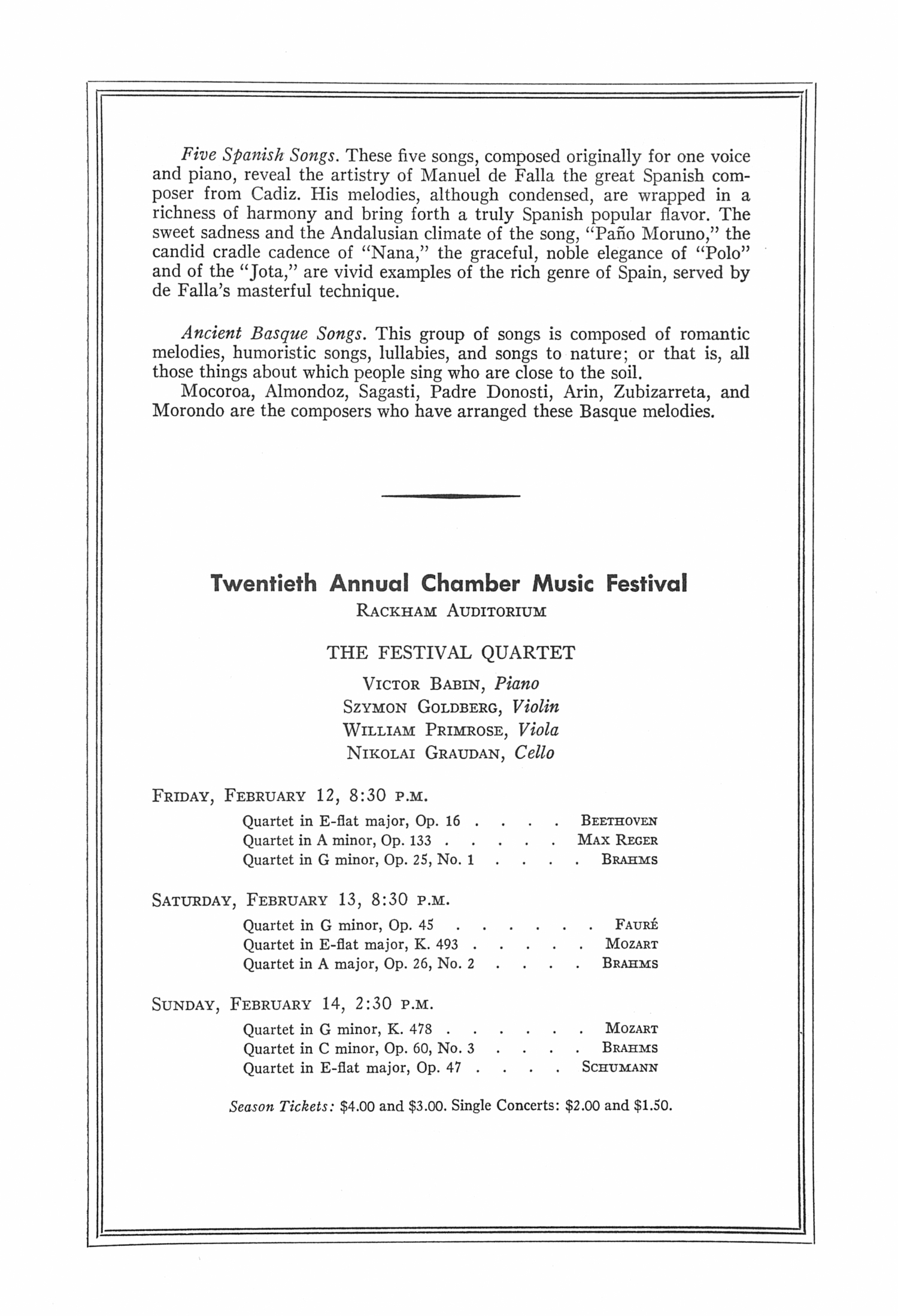 UMS Concert Program, November 15, 1959: The Pamplona Choir From Spain -- Luis Morondo image
