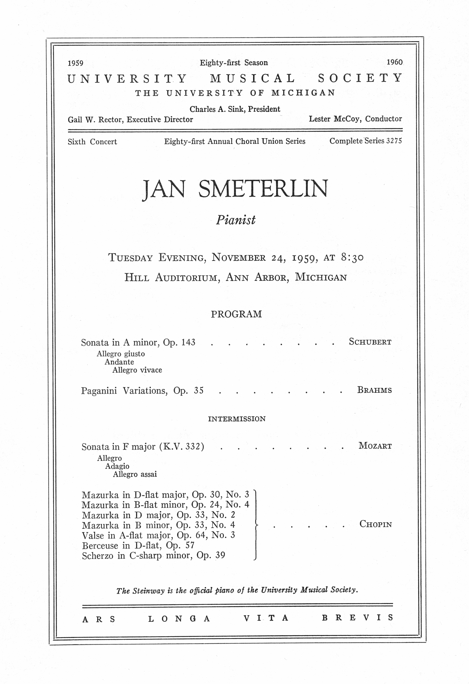 UMS Concert Program, November 24, 1959: Jan Smeterlin --  image