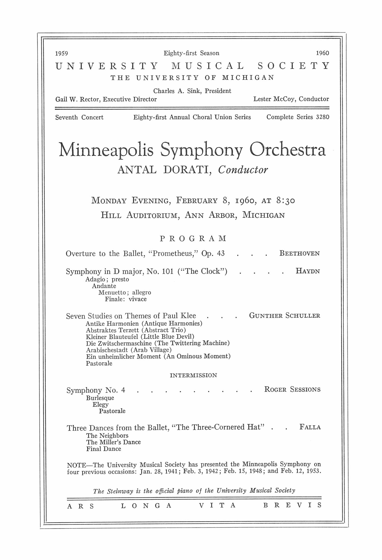 UMS Concert Program, February 8, 1960: Minneapolis Symphony Orchestra --  image