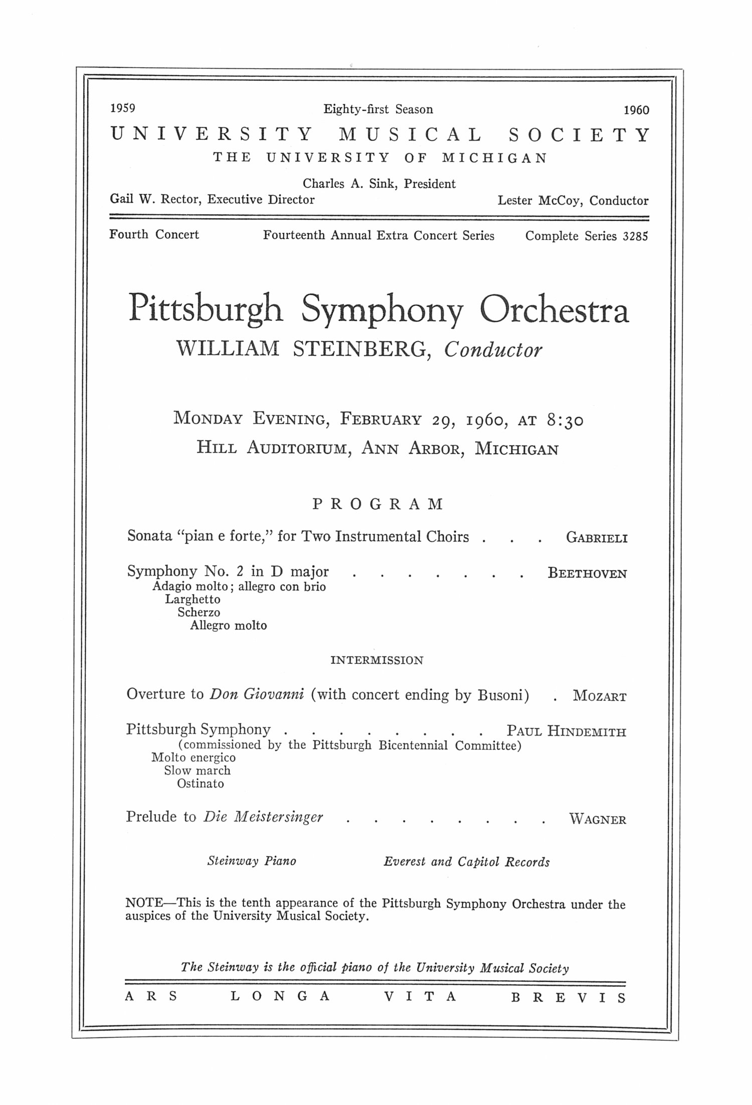 UMS Concert Program, February 29, 1960: Pittsburgh Symphony Orchestra --  image