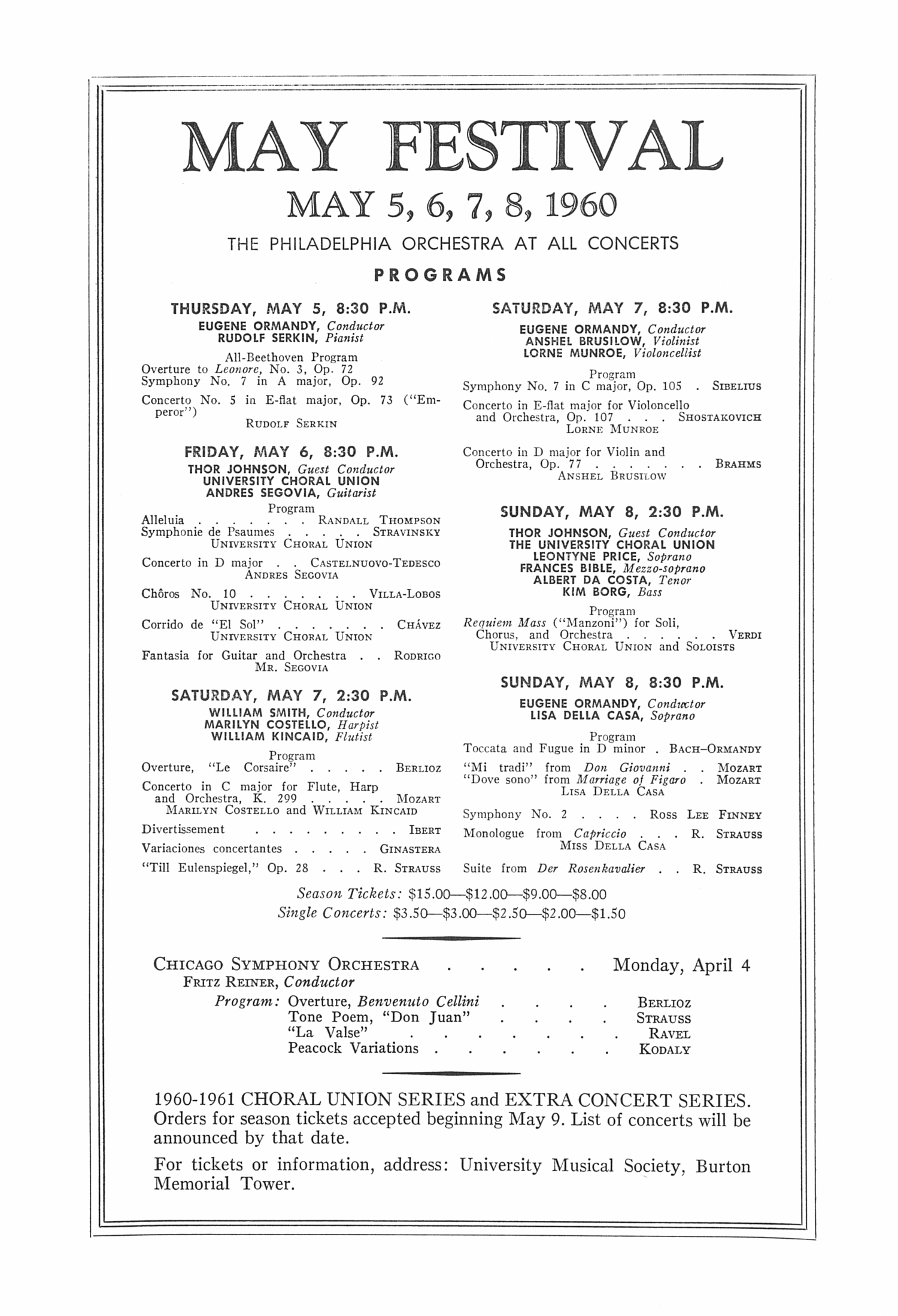UMS Concert Program, March 24, 1960: The Lamoureux Orchestra --  image