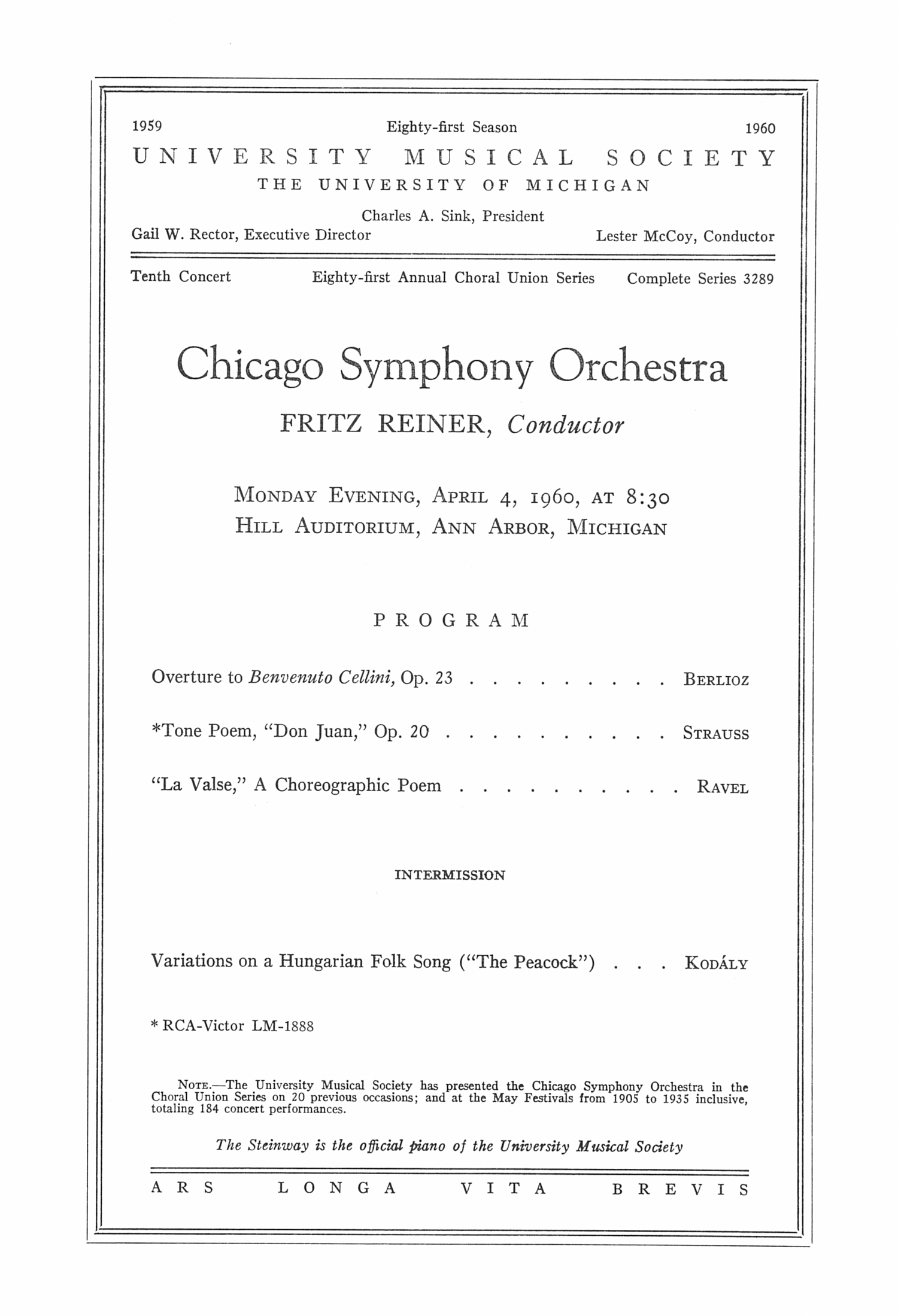 UMS Concert Program, April 4, 1960: Chicago Symphony Orchestra --  image