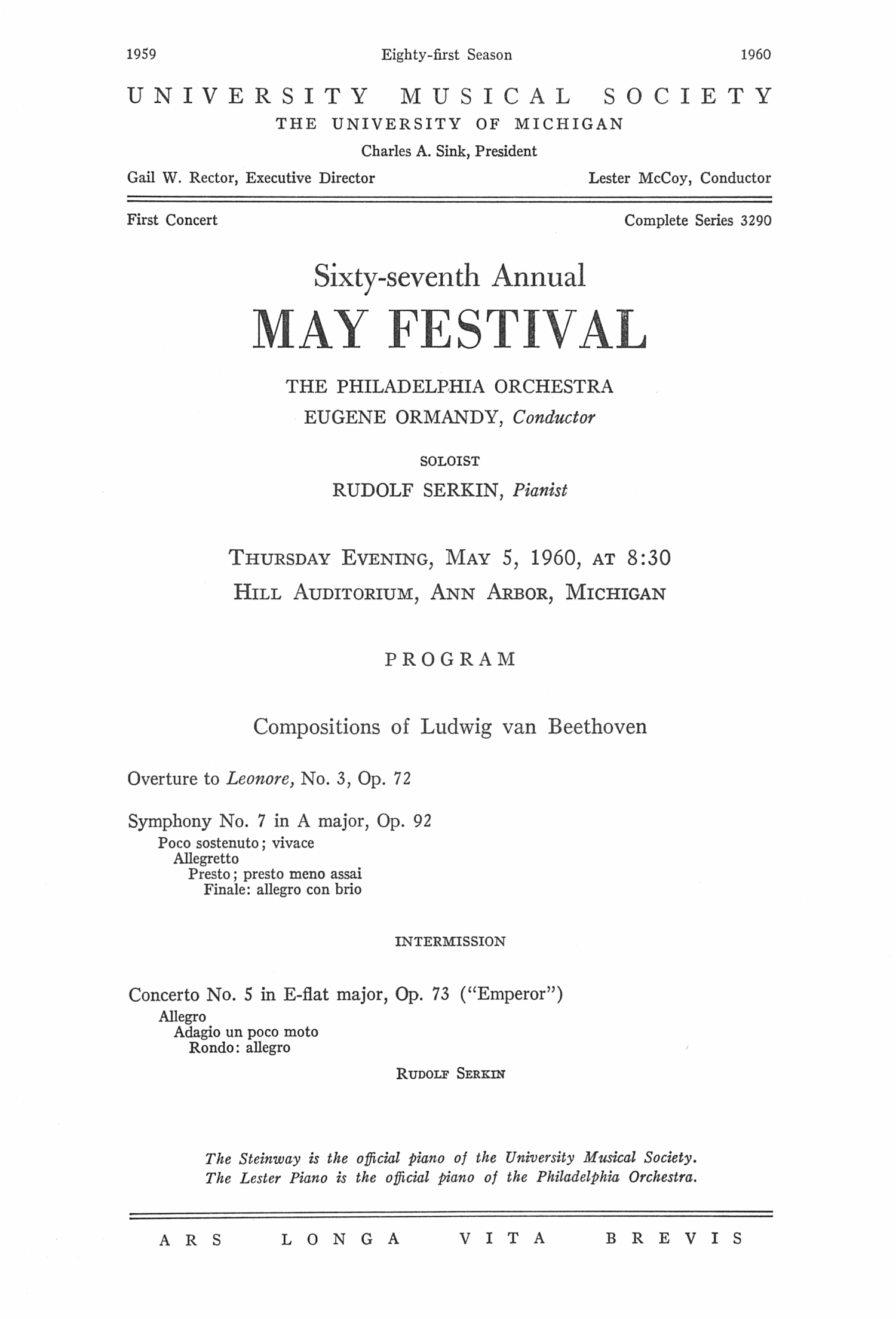 UMS Concert Program, May 5, 1960: Sixty-seventh Annual May Festival -- The Philadelphia Orchestra image