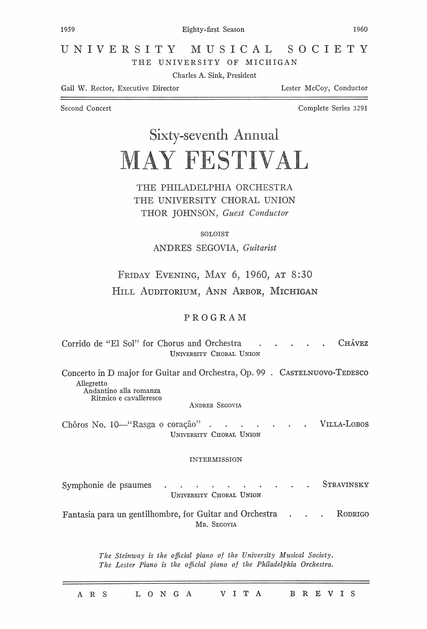 UMS Concert Program, May 6, 1960: Sixty-seventh Annual May Festival -- The Philadelphia Orchestra image