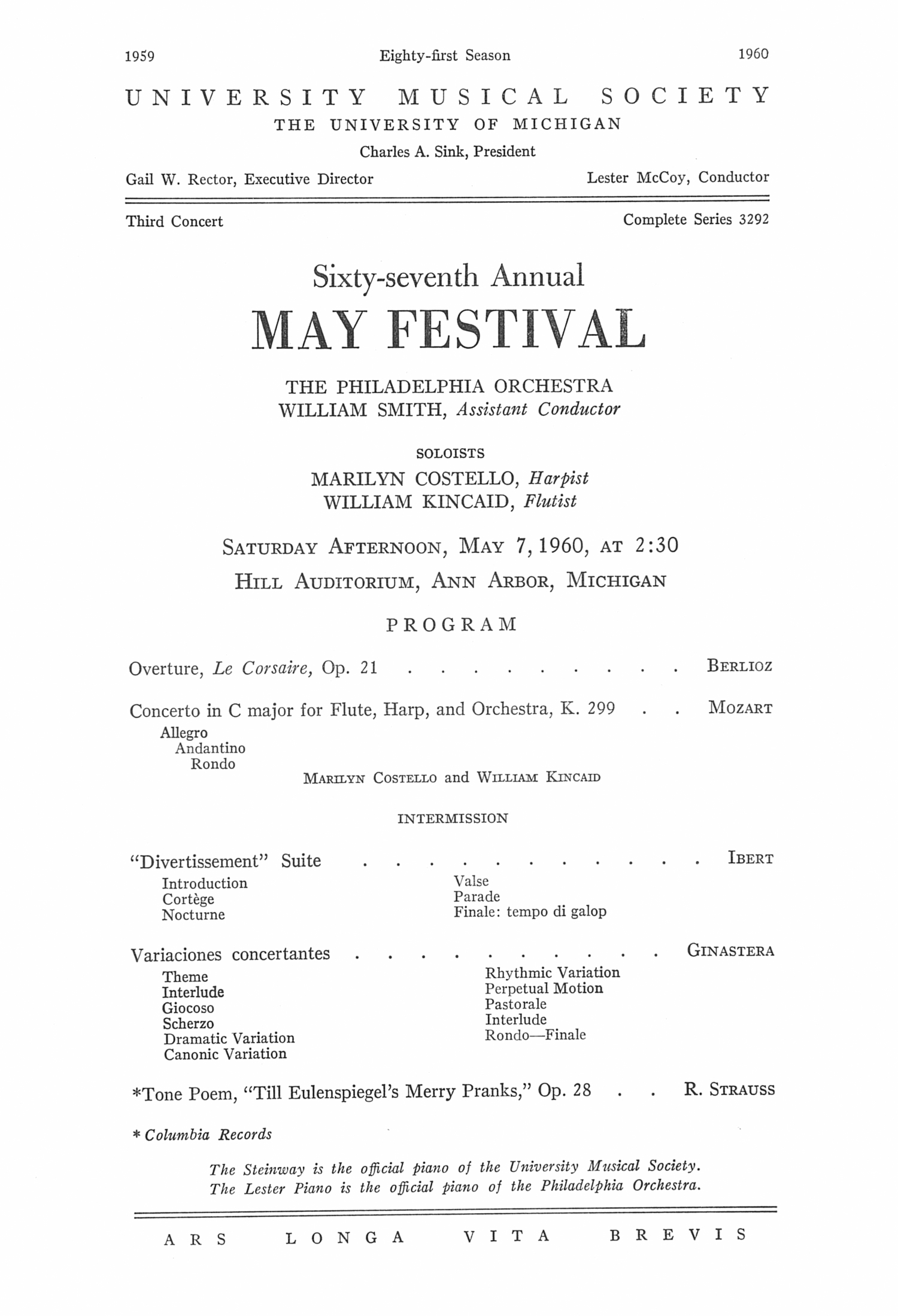 UMS Concert Program, May 7,1960: Sixty-seventh Annual May Festival -- The Philadelphia Orchestra image