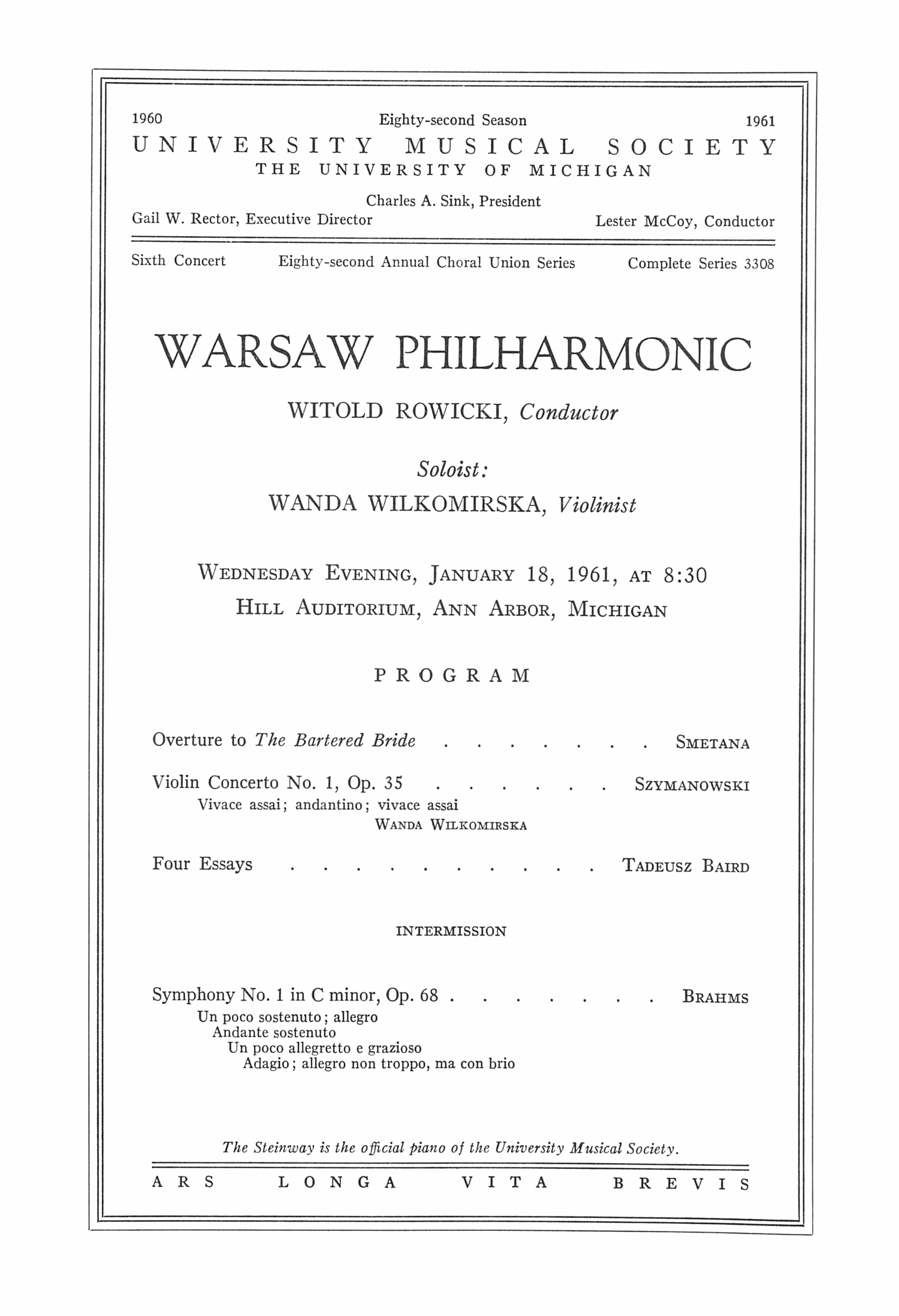 UMS Concert Program, January 18, 1961: Warsaw Philharmonic -- Witold Rowicki image
