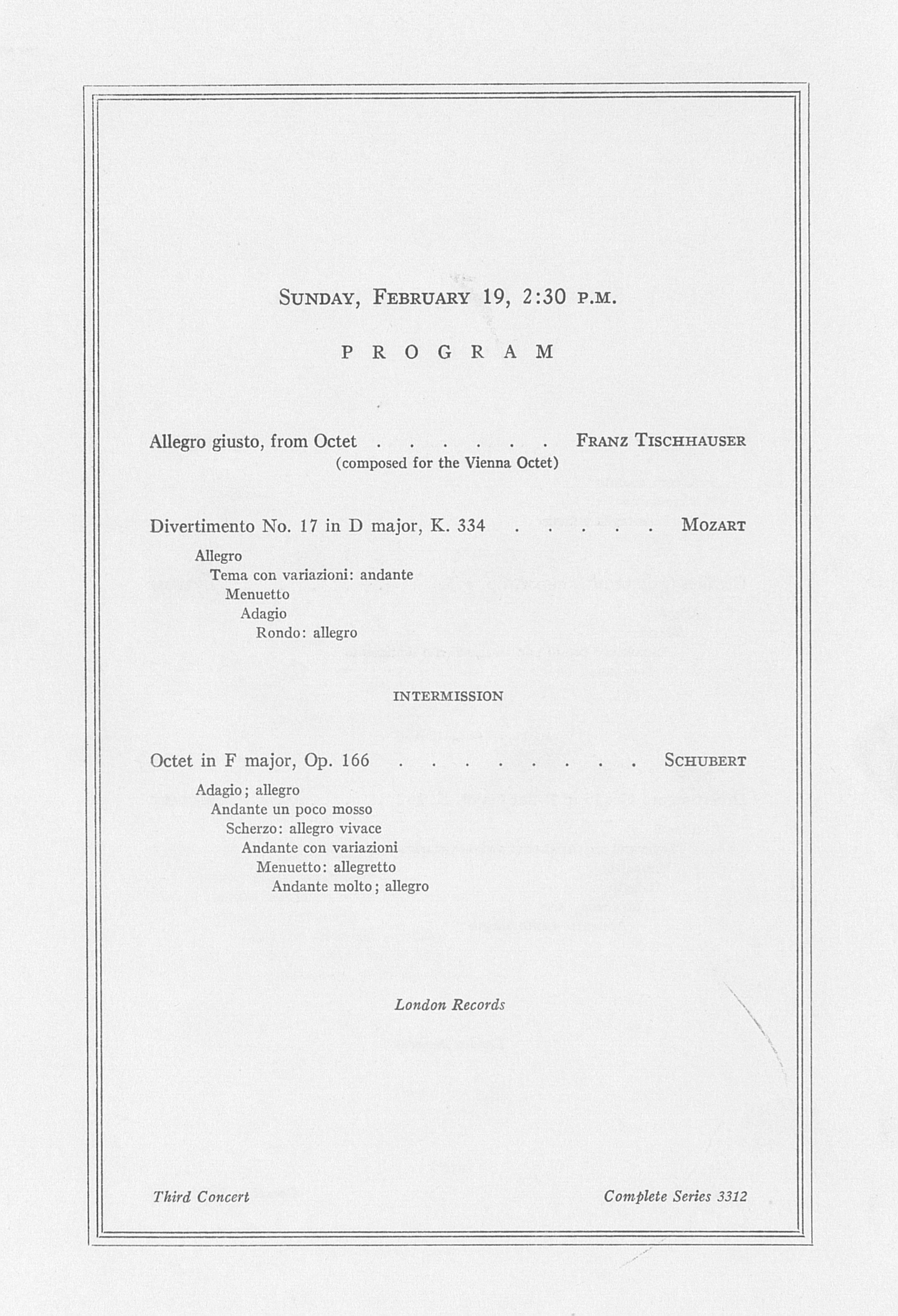 UMS Concert Program, February 17, 18, 19, 1961: Vienna Octet --  image
