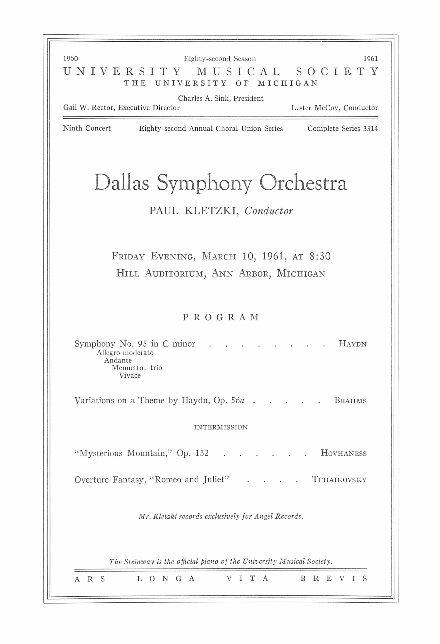 UMS Concert Program, March 10, 1961: Dallas Symphony Orchestra --  image