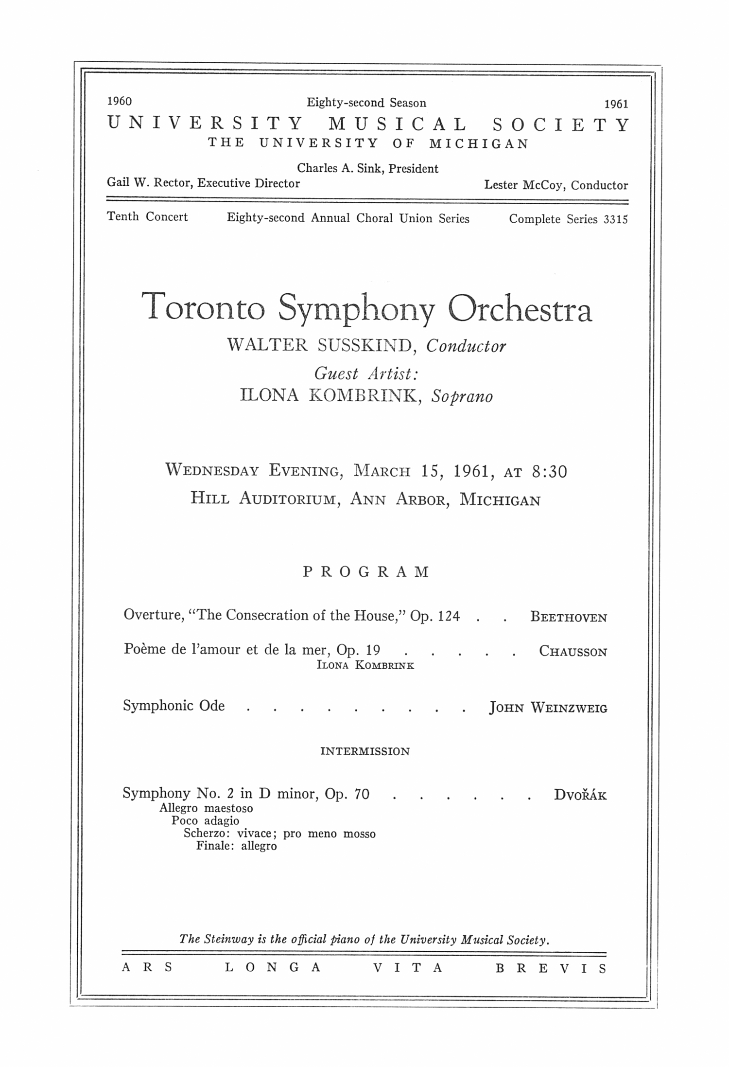 UMS Concert Program, March 15: Toronto Symphony Orchestra --  image