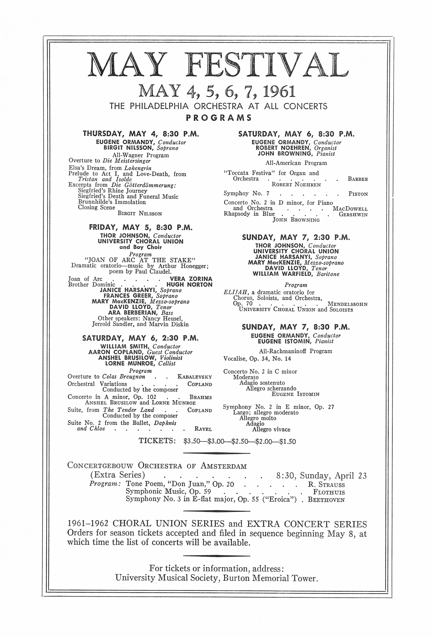 UMS Concert Program, March 26, 1961: Budapest Quartet --  image