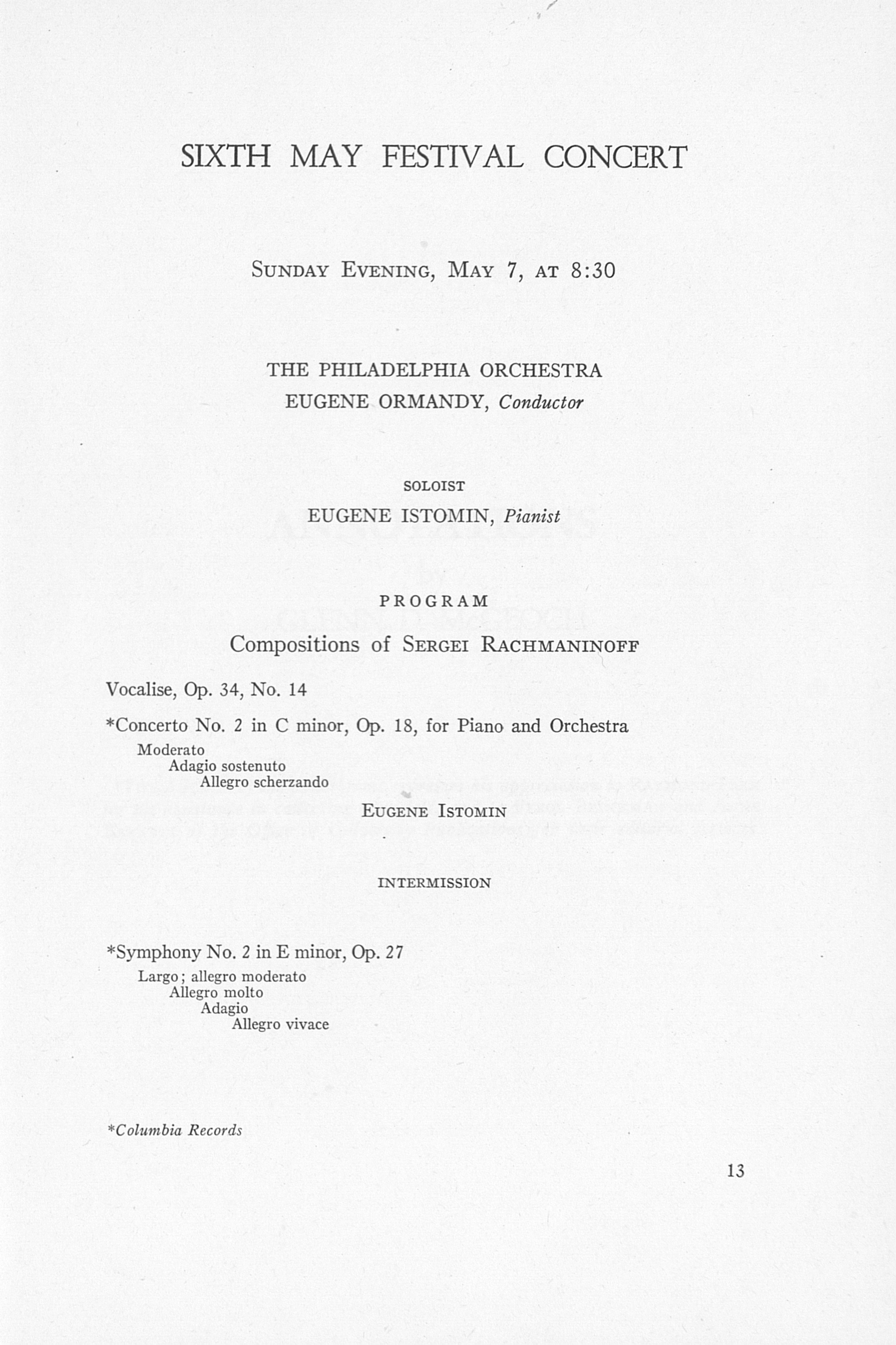 UMS Concert Program, May 4, 5, 6, 7, 1961: The Sixty-eighth Annual Ann Arbor May Festival -- The Philadelphia Orchestra image
