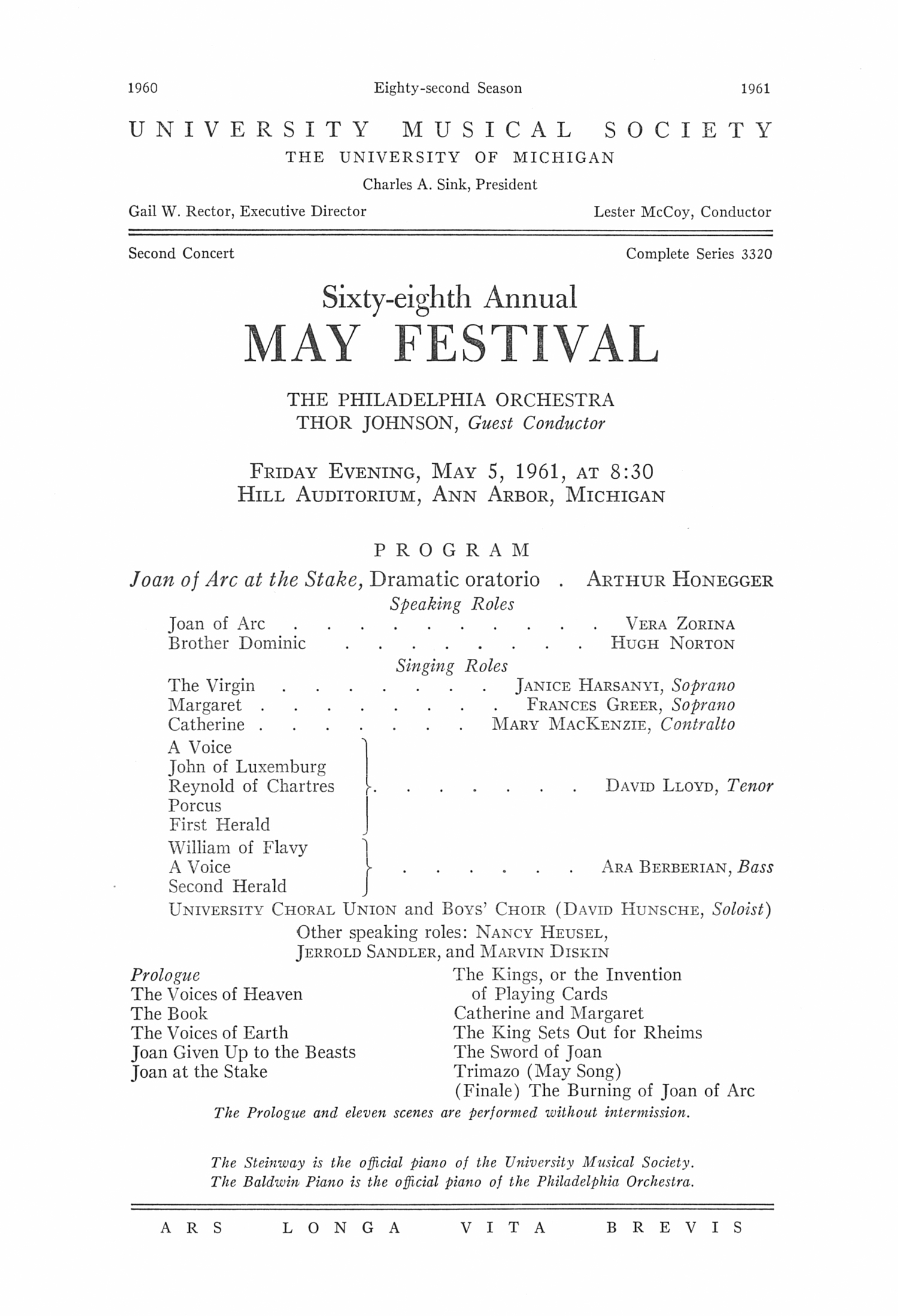 UMS Concert Program, May 5, 1961: Sixty-eighth Annual May Festival -- The Philadelphia Orchestra image
