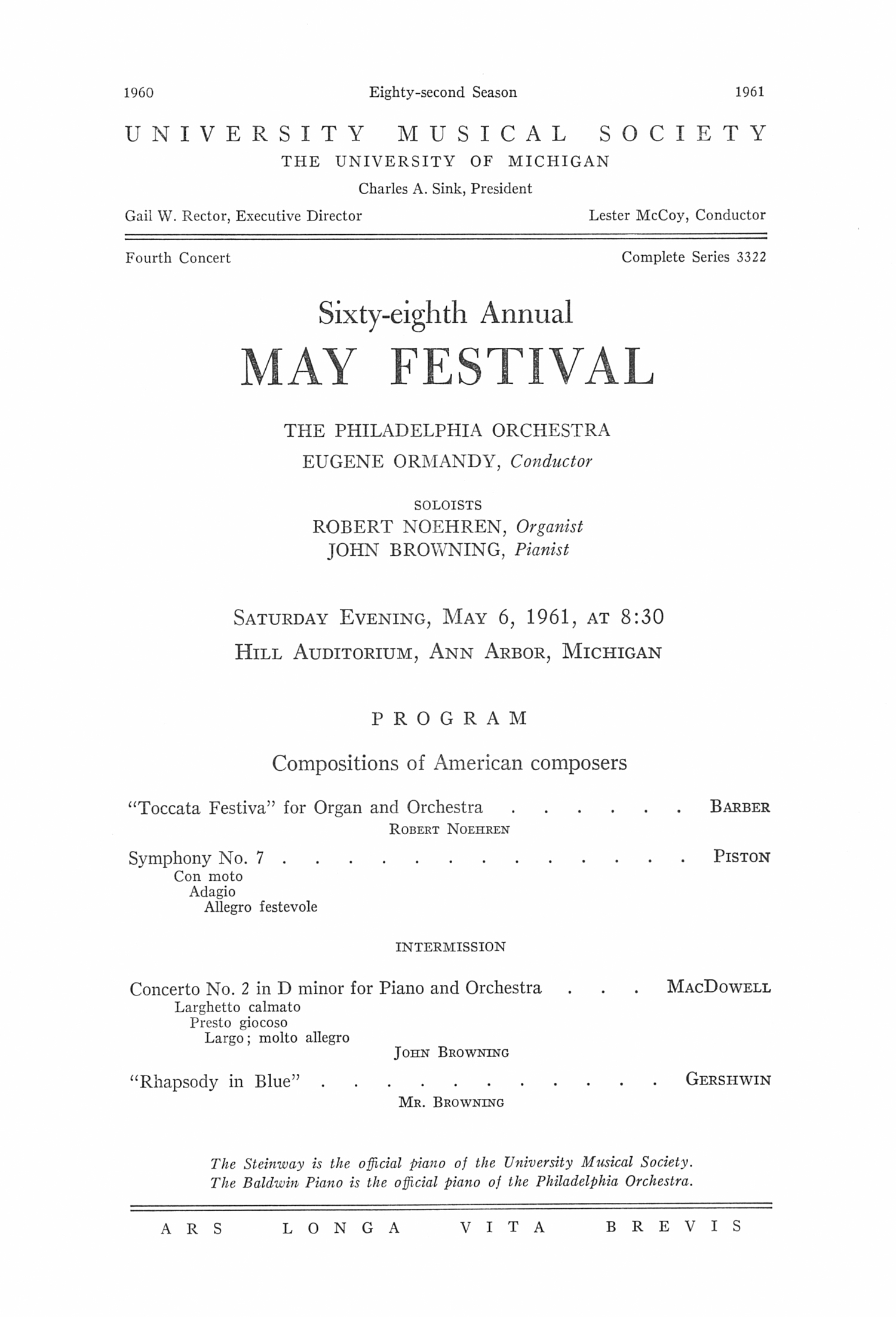 UMS Concert Program, May 6, 1961: Sixty-eighth Annual May Festival -- The Philadelphia Orchestra image