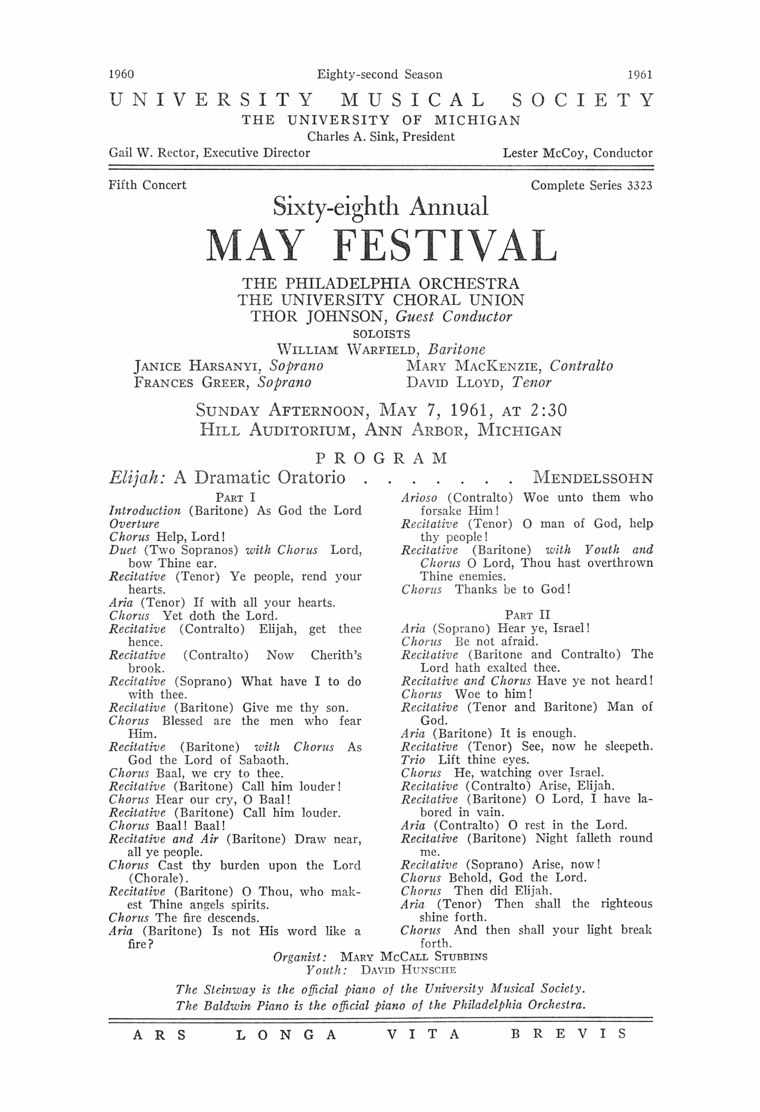 UMS Concert Program, May 7, 1961: Sixty-eighth Annual May Festival -- The Philadelphia Orchestra image