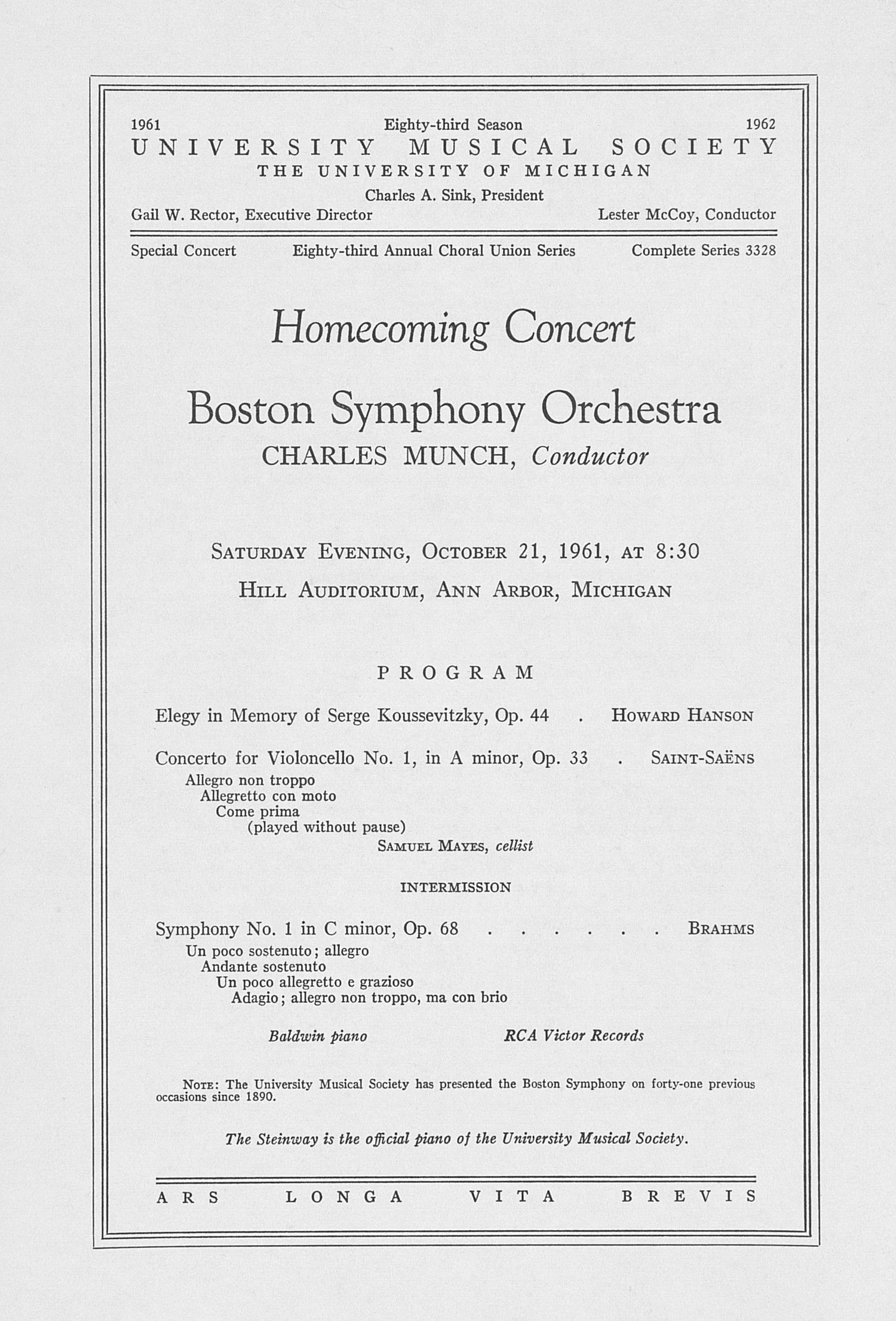 UMS Concert Program, October 21, 1961: Homecoming Concert -- Boston Symphony Orchestra image