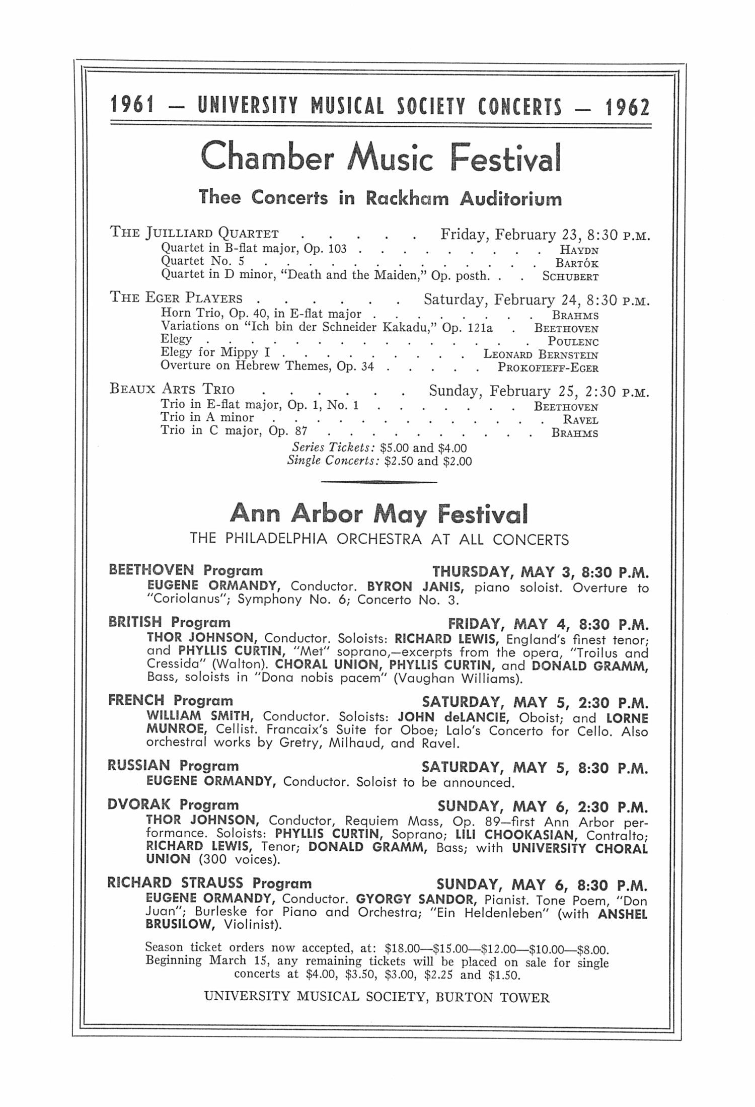 UMS Concert Program, January 13, 1962.: Richard Dyer Rennet --  image