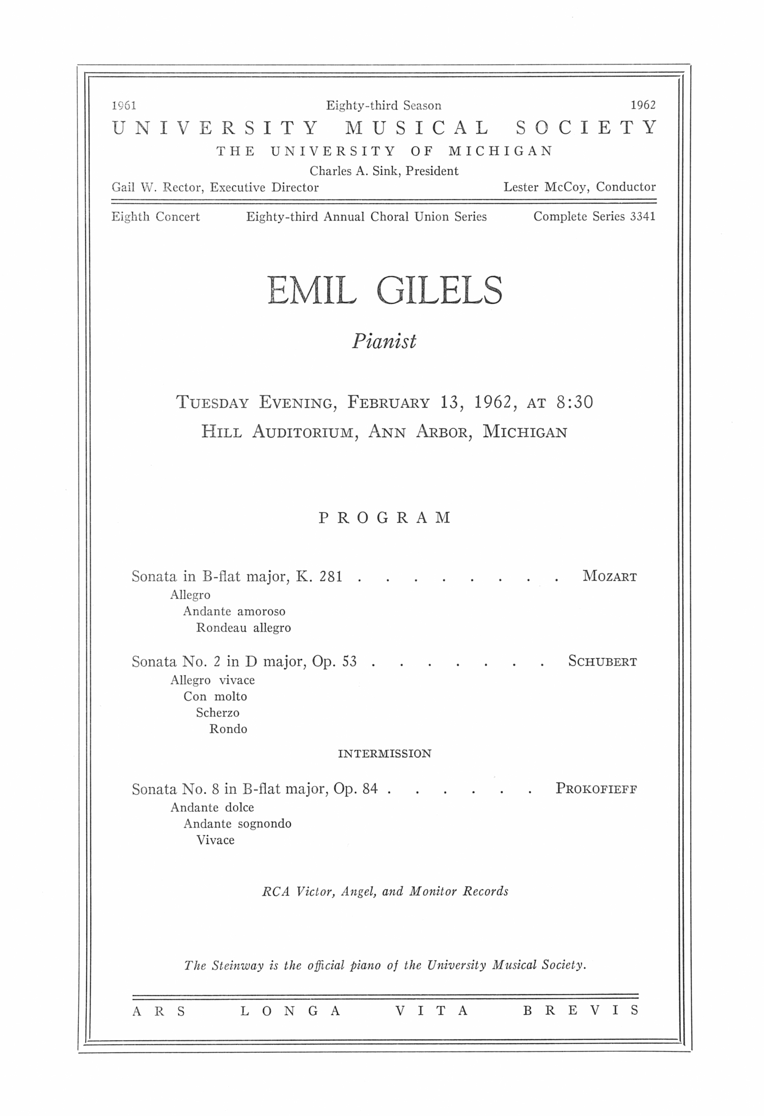 UMS Concert Program, February 13, 1962: Emil Gilels --  image