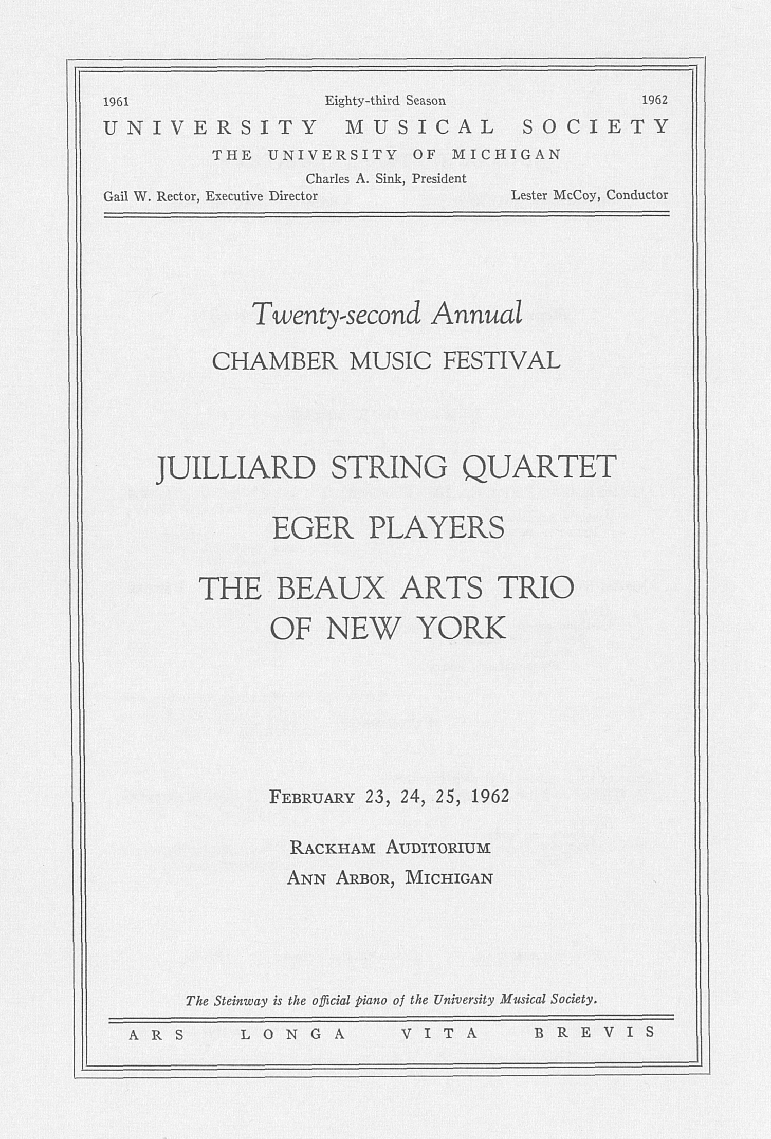 UMS Concert Program, February 23, 24, 25, 1962: Juilliard String Quartet --  image