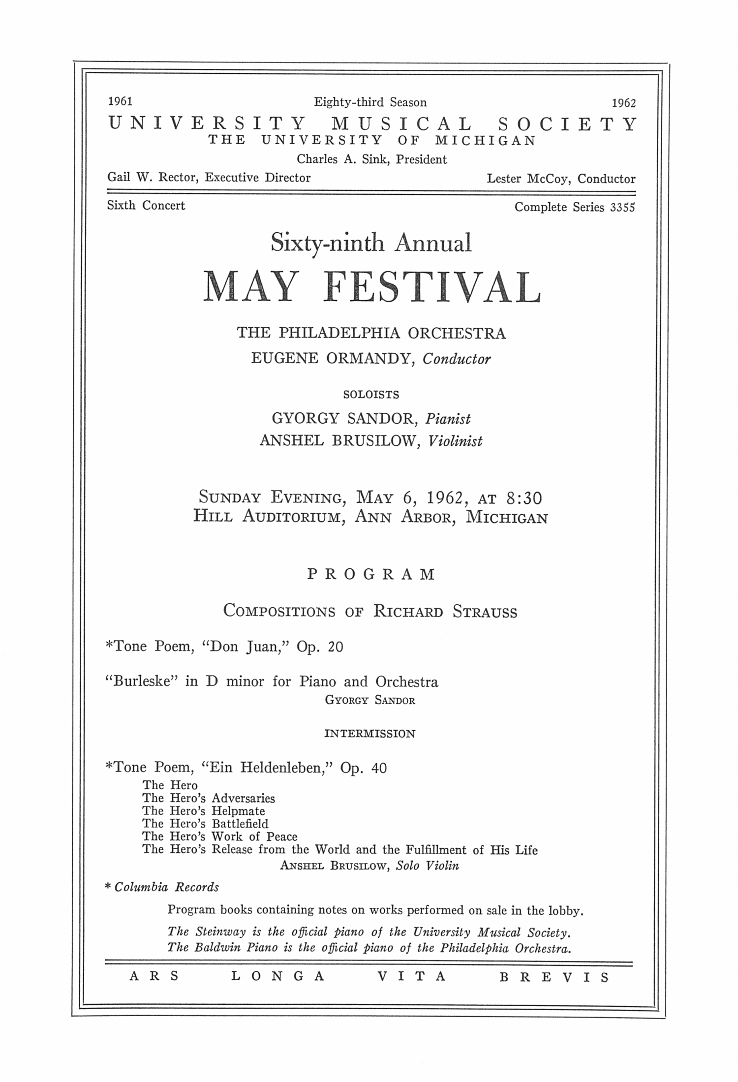 UMS Concert Program, May 6, 1962: Sixty-ninth Annual May Festival -- The Philadelphia Orchestra image
