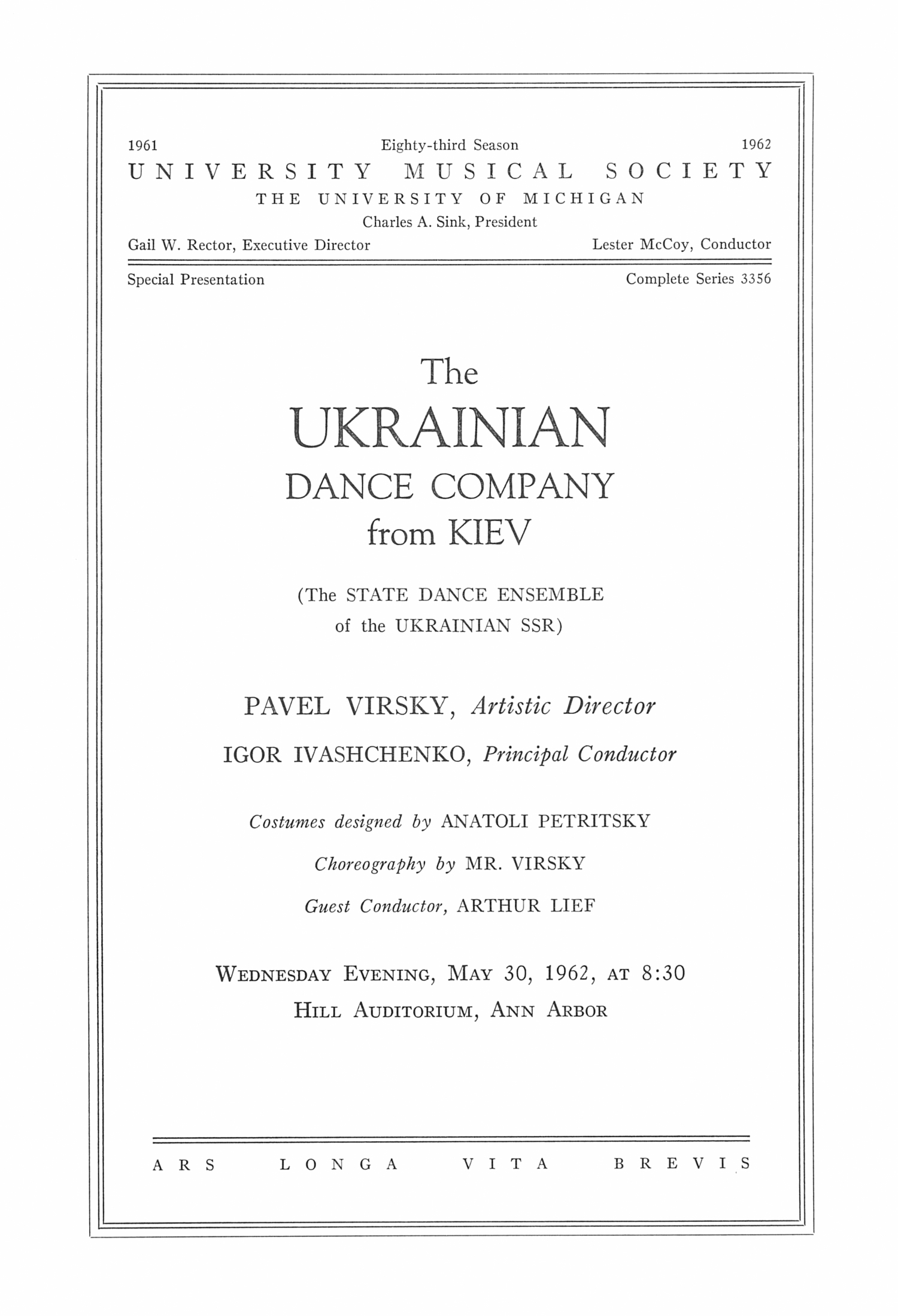 UMS Concert Program, May 30, 1962: Ukrainian -- Pavel Virsky image