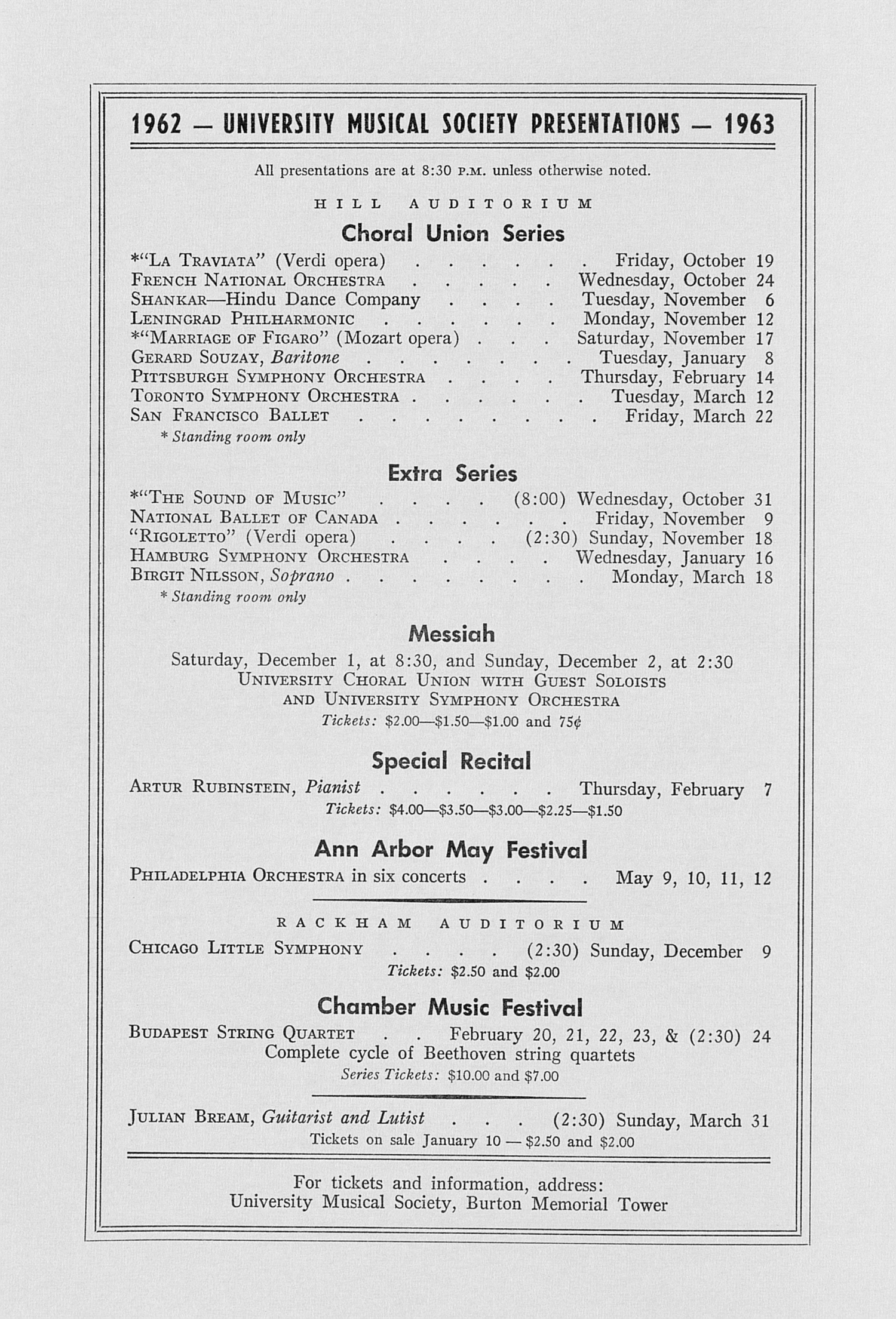 UMS Concert Program, October 14, Is, 16, 1962: Chamber Dance