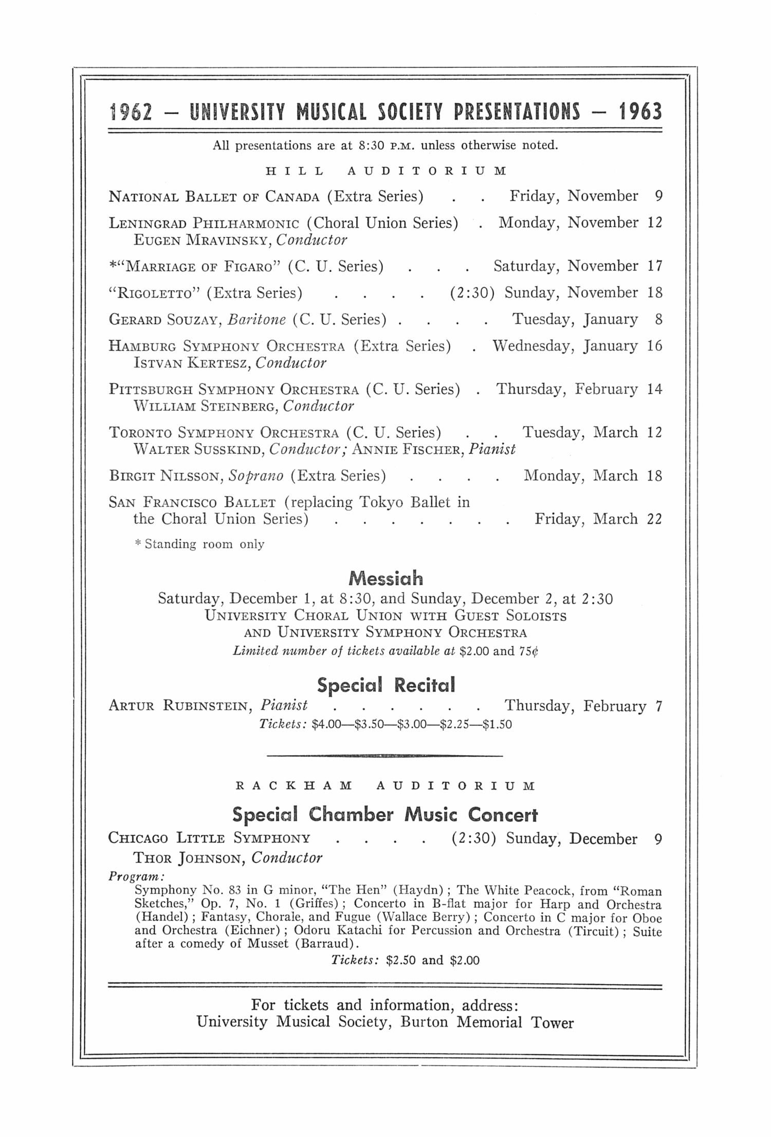 UMS Concert Program, November 6, 1962: The Uday Shankar Hindu Dancers And Musicians --  image