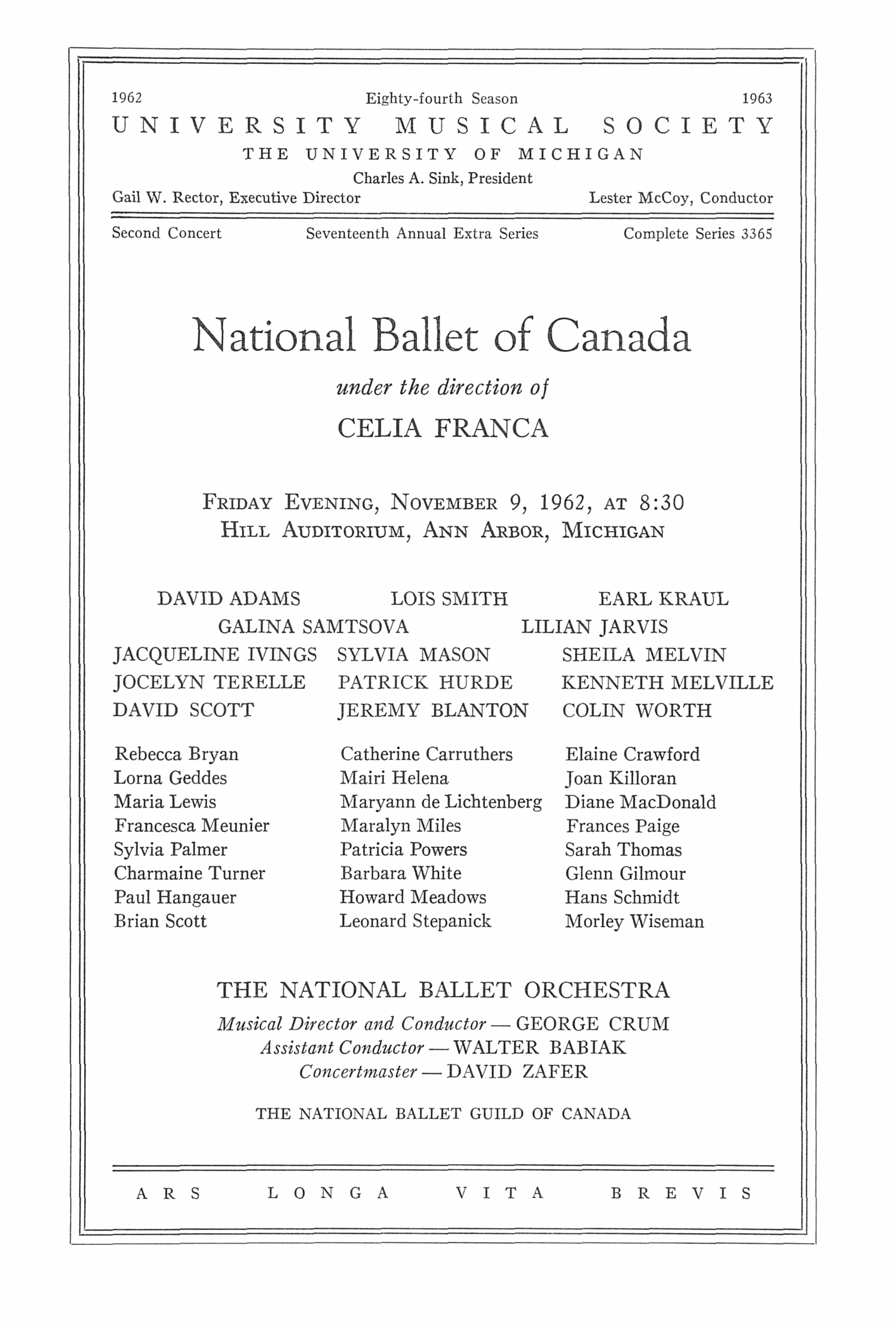 UMS Concert Program, November 9, 1962: National Ballet Of Canada -- Celia Franca image