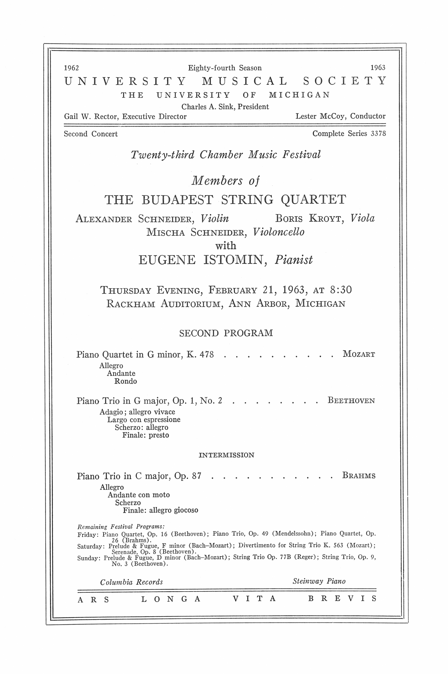 UMS Concert Program, February 21, 1963: The Budapest String Quartet -- Eugene Istomin image