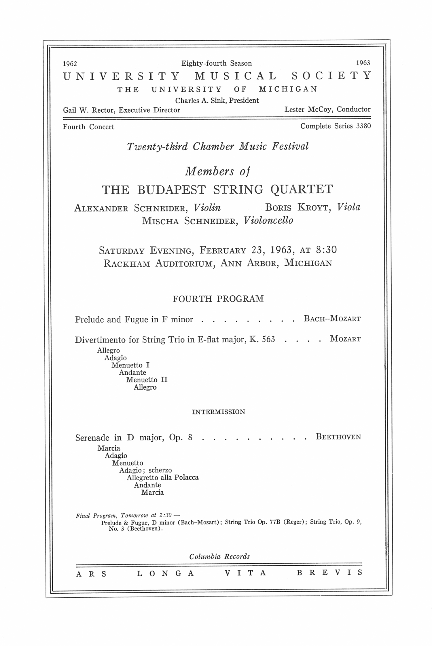 UMS Concert Program, February 23, 1963: The Budapest String Quartet --  image
