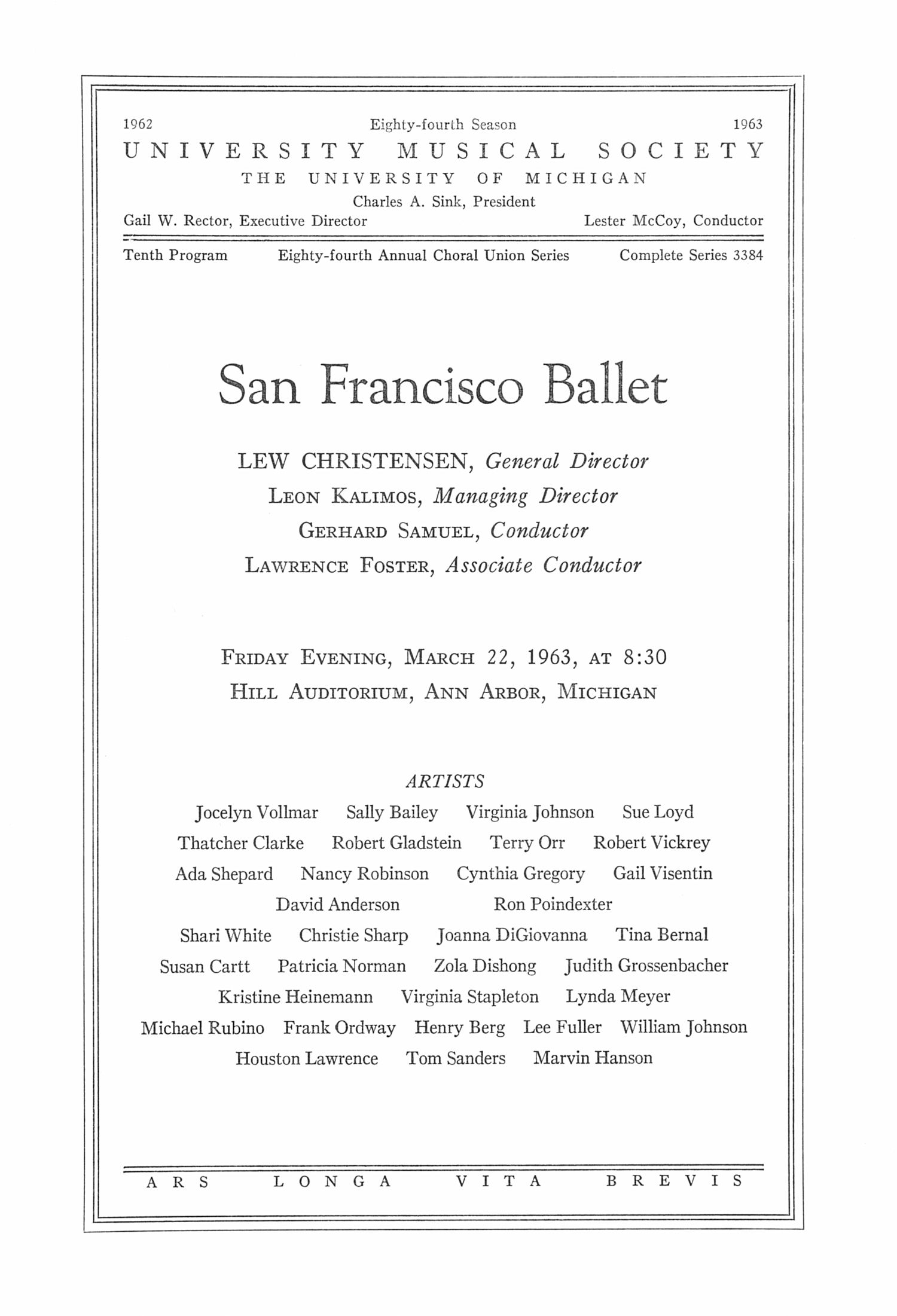 UMS Concert Program, March 22, 1963: San Francisco Ballet -- Lew Christensen image