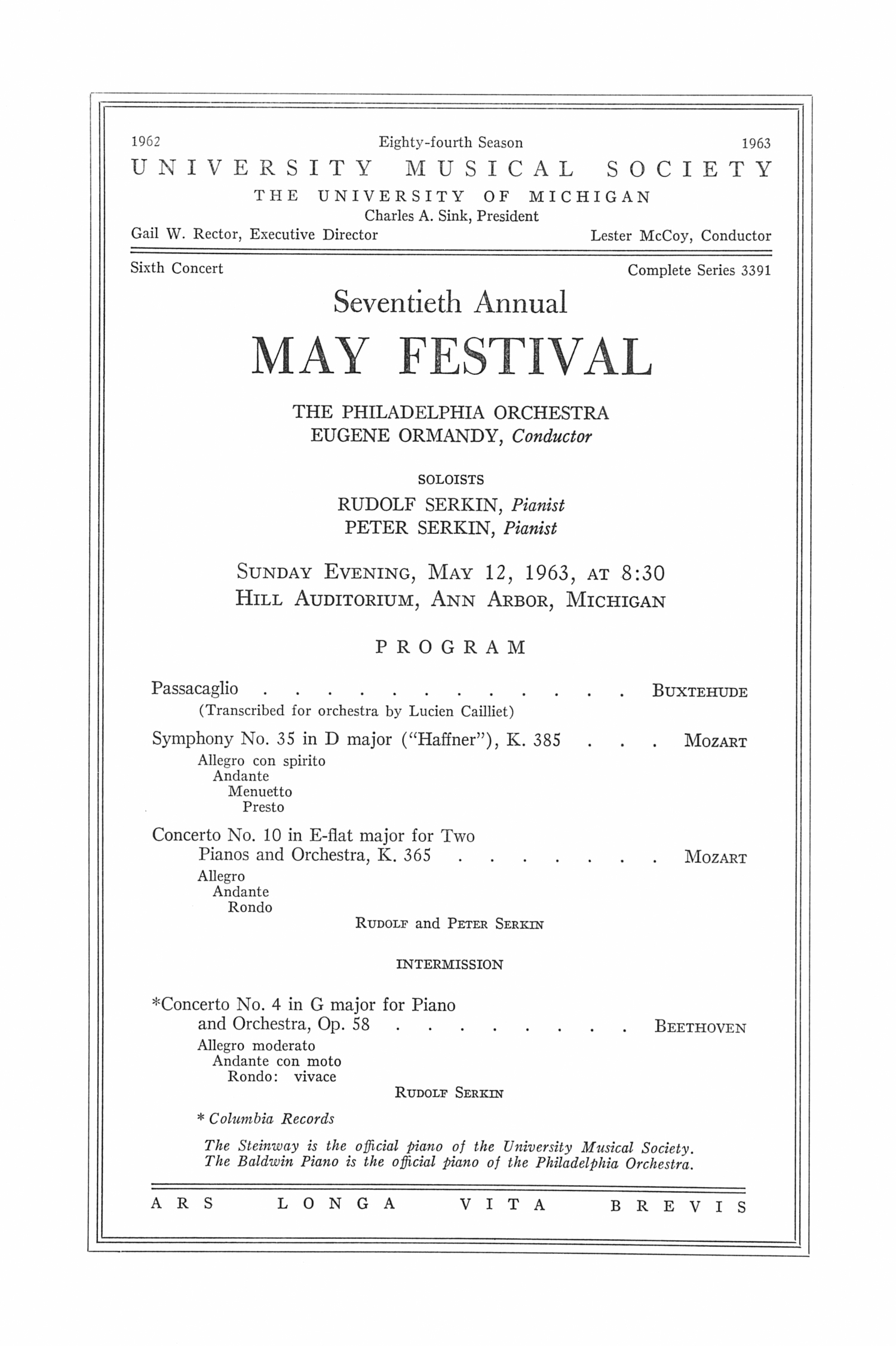 UMS Concert Program, May 12, 1963: Seventieth Annual May Festival -- The Philadelphia Orchestra image