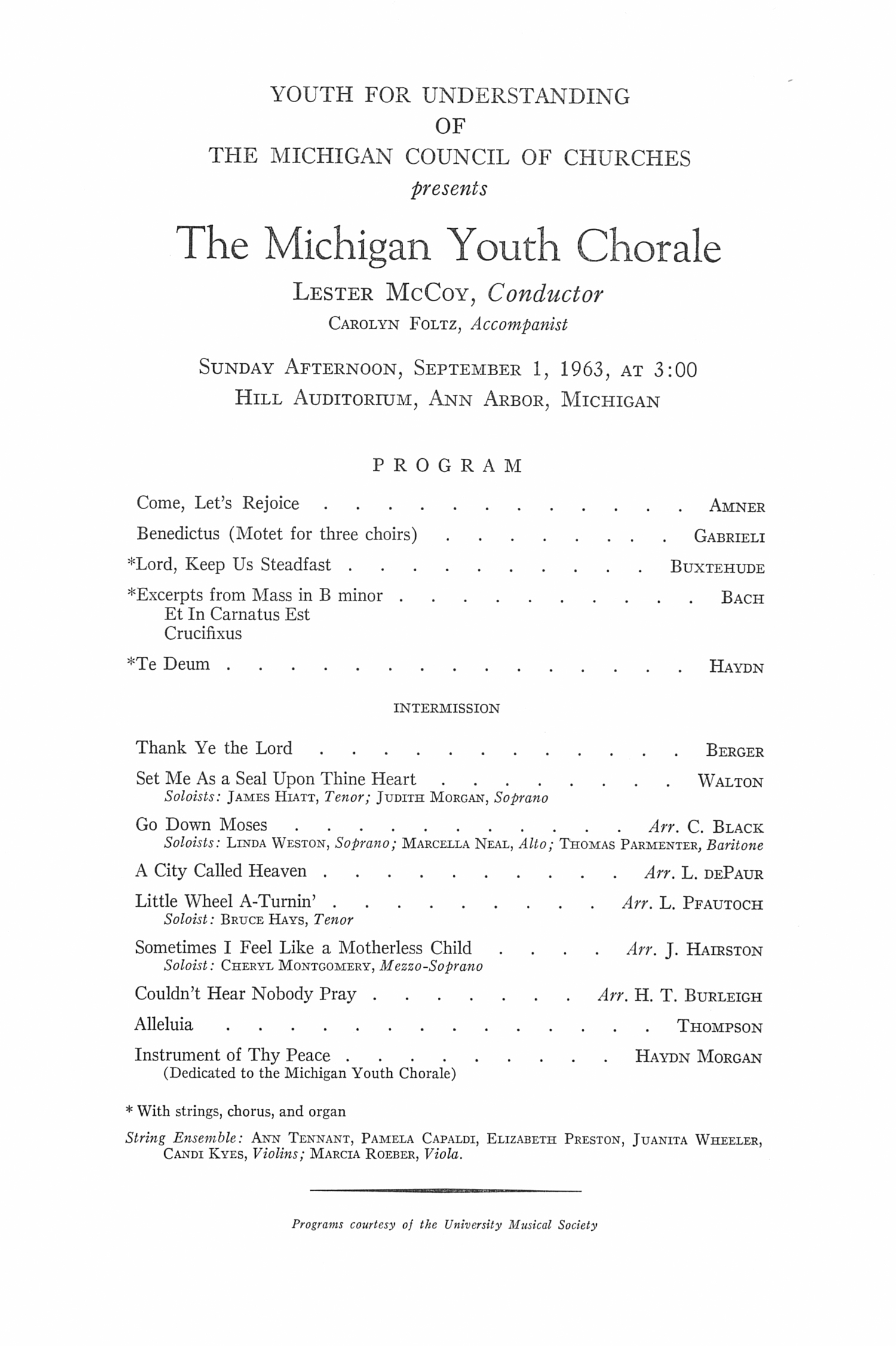 UMS Concert Program, September 1, 1963: The Michigan Youth Chorale -- Lester Mccoy image