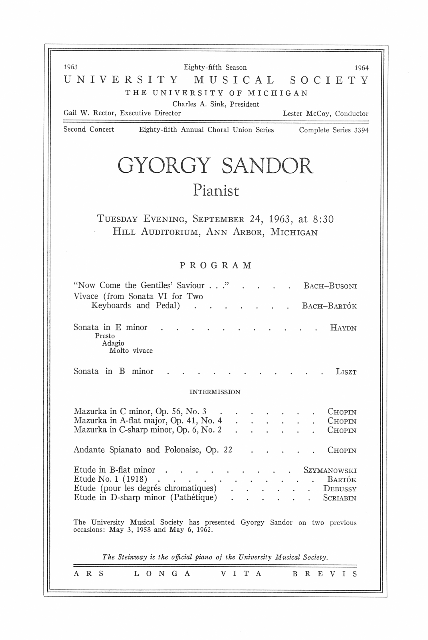 UMS Concert Program, September 24, 1963: Gyorgy Sandor --  image