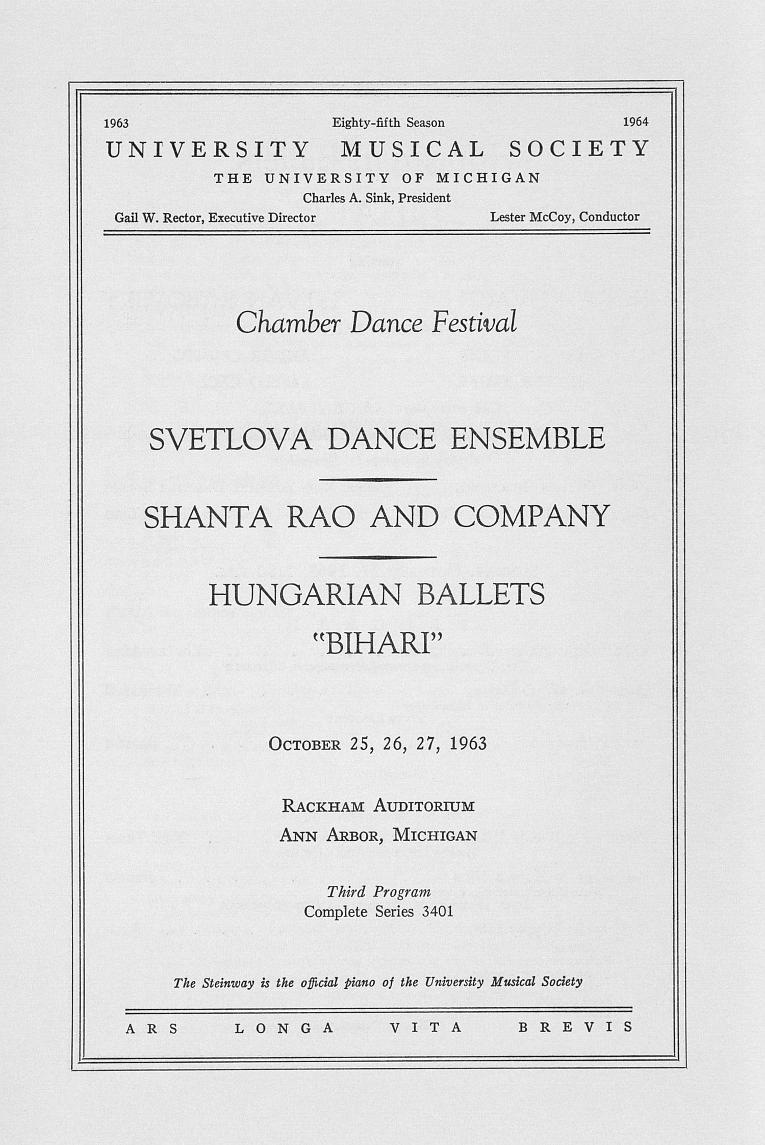 UMS Concert Program, October 25, 26, 27, 1963: Chamber Dance Festival --  image