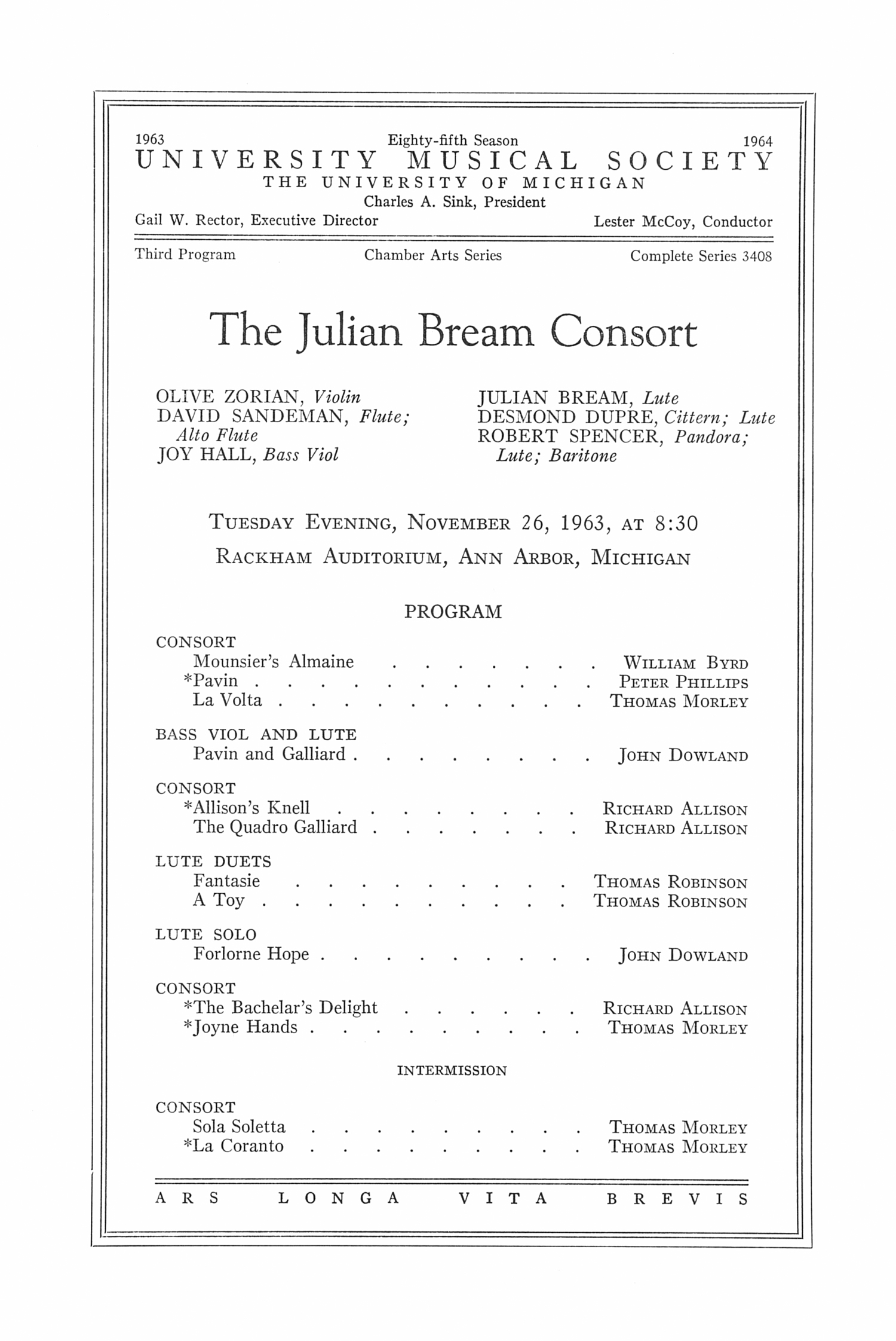 UMS Concert Program, November 26, 1963: The Julian Bream Consort --  image